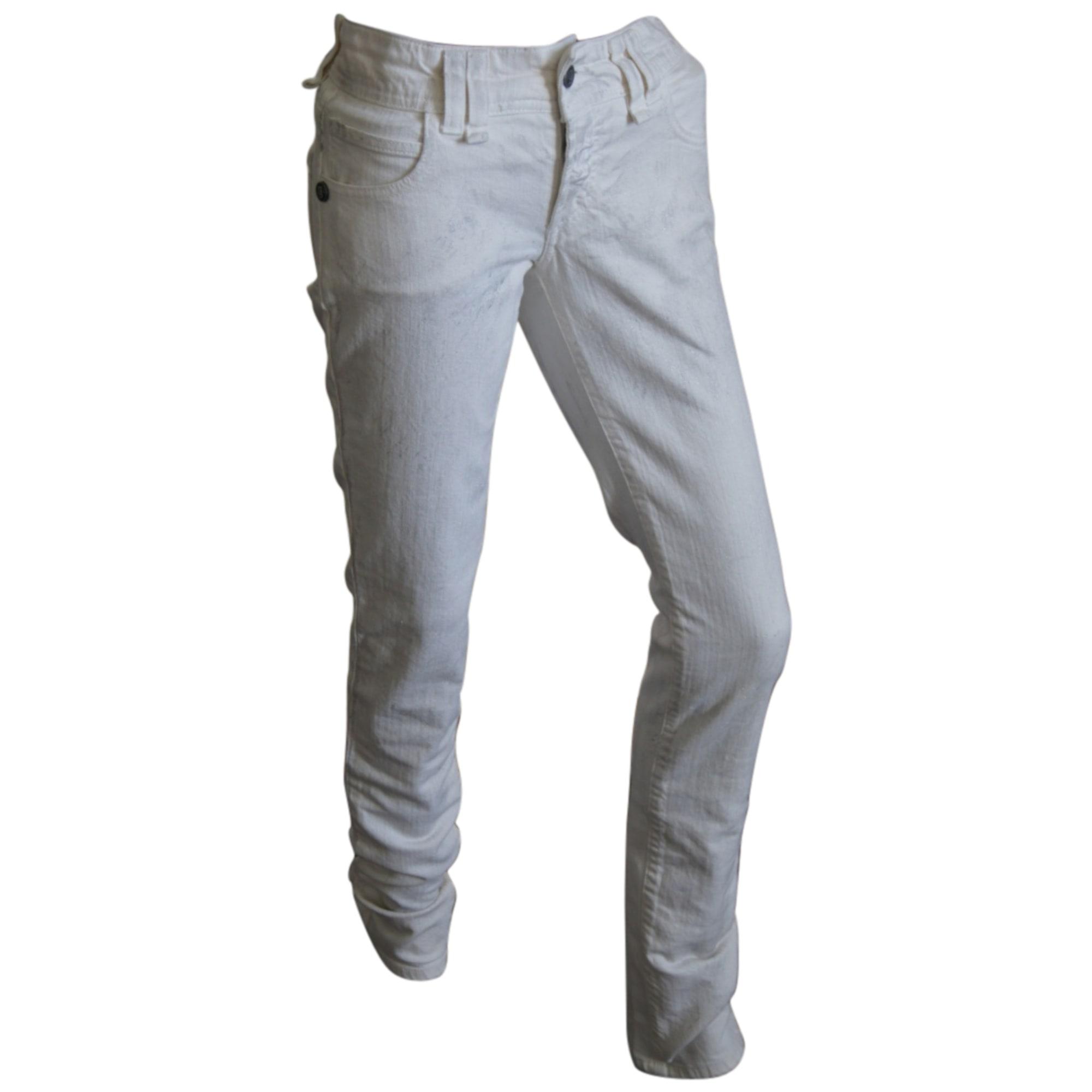 Jeans slim JOHN GALLIANO Blanc, blanc cassé, écru