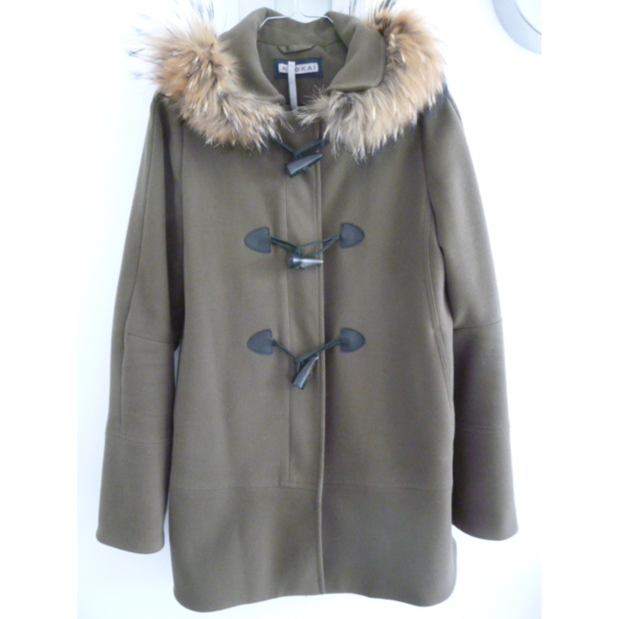 manteau a capuche vrai fourure kookai