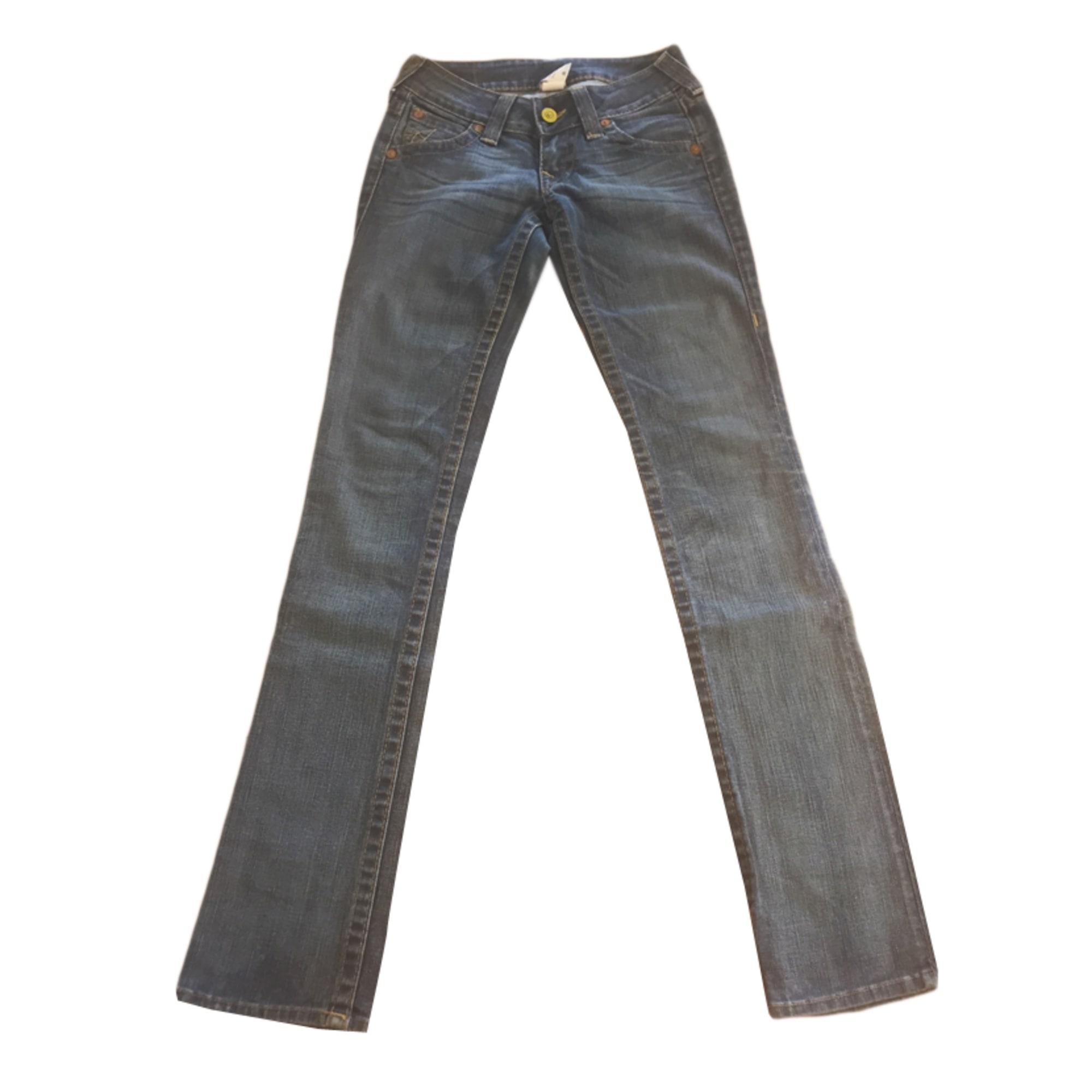 Jeans droit TRUE RELIGION Bleu, bleu marine, bleu turquoise