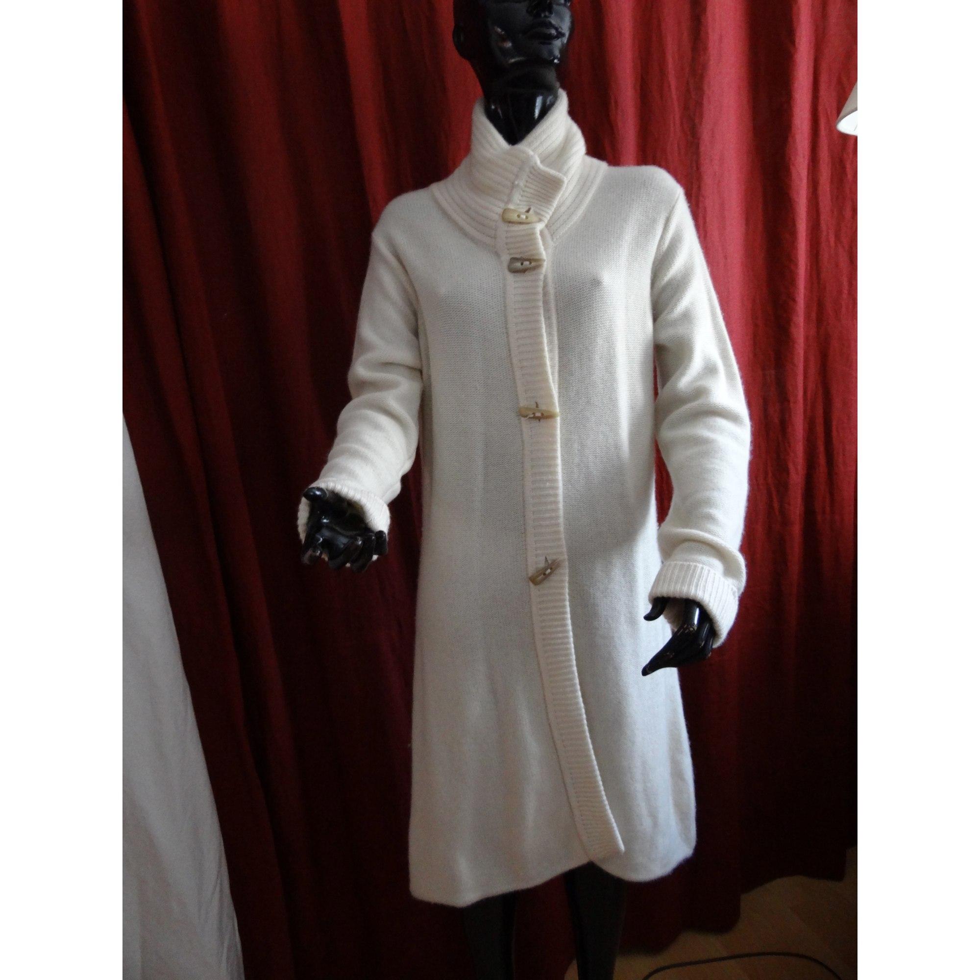 Manteau LES ATELIERS DE LA MAILLE Blanc, blanc cassé, écru