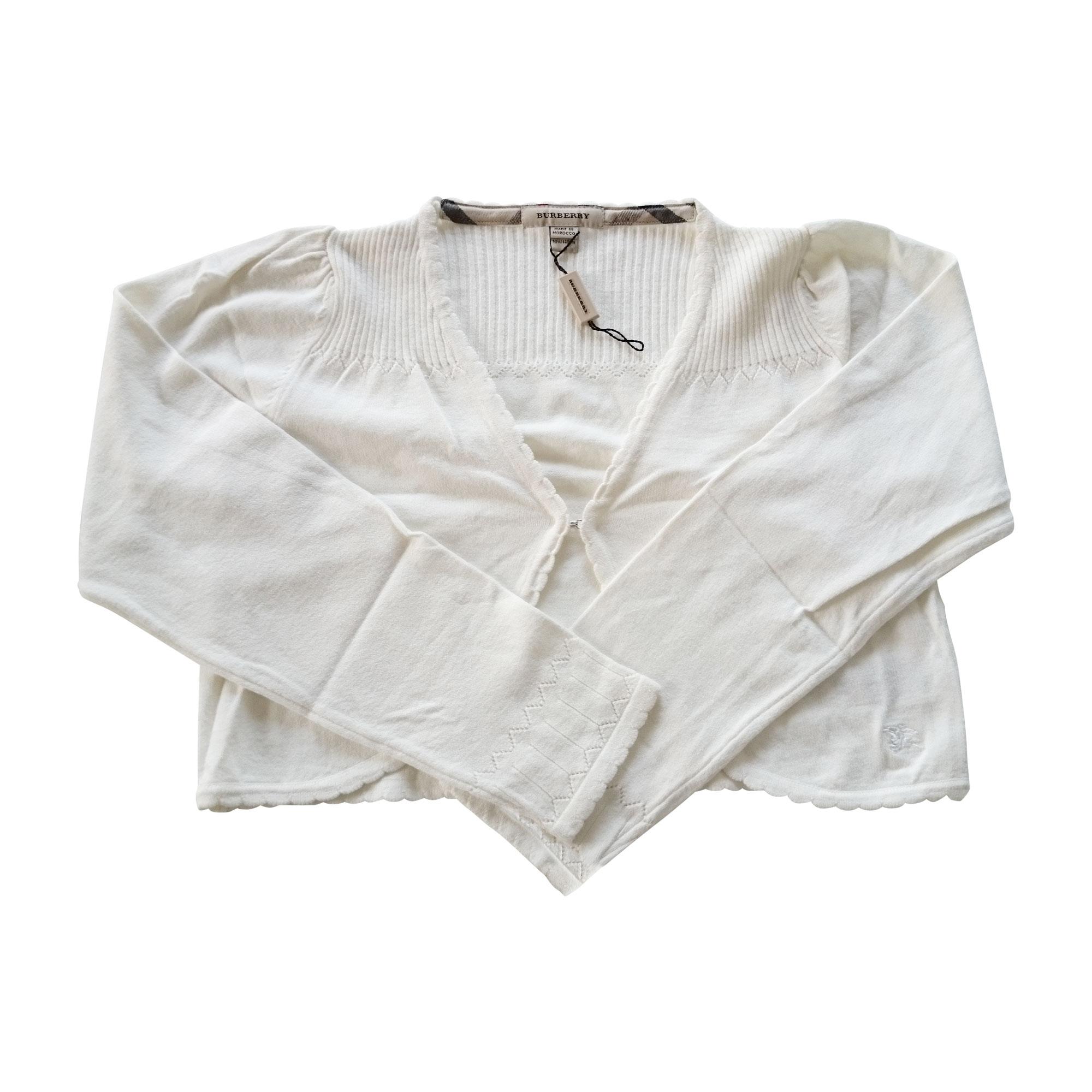 Gilet, cardigan BURBERRY Blanc, blanc cassé, écru