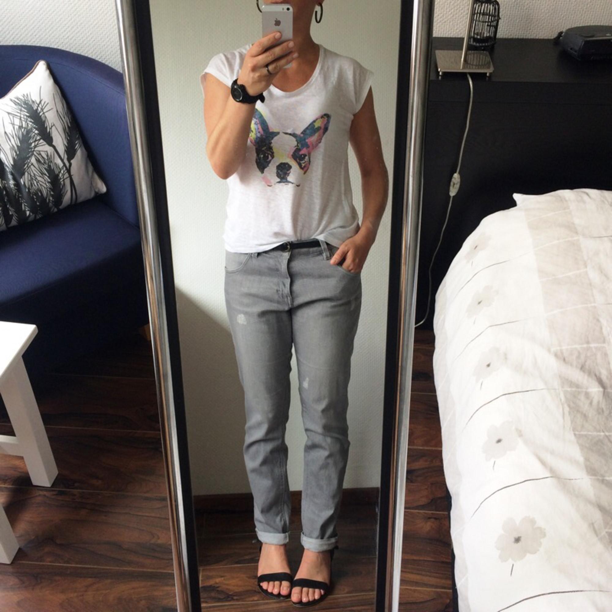 Jeans large, boyfriend COMPTOIR DES COTONNIERS Gris, anthracite