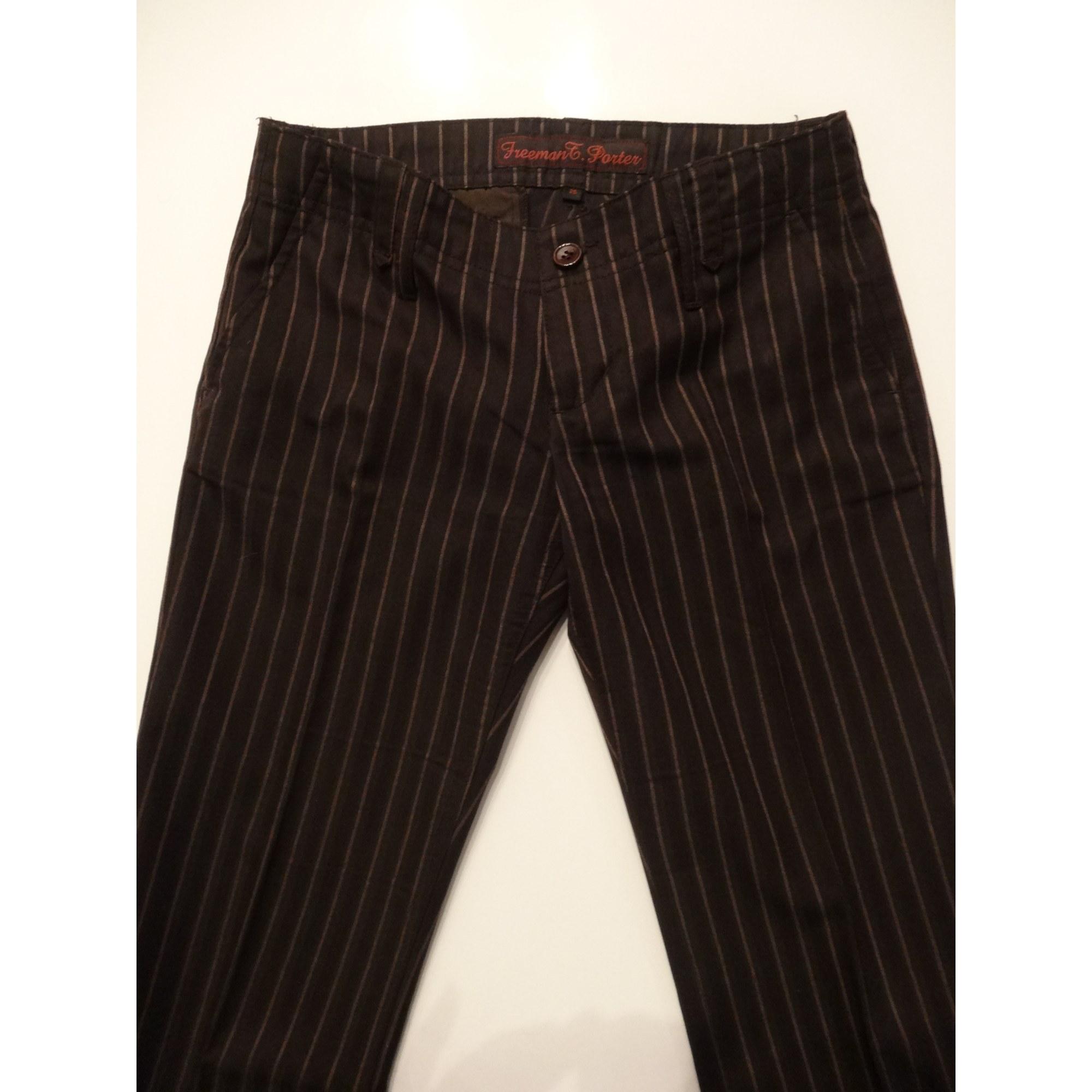 Pantalon droit FREEMAN T PORTER Marron