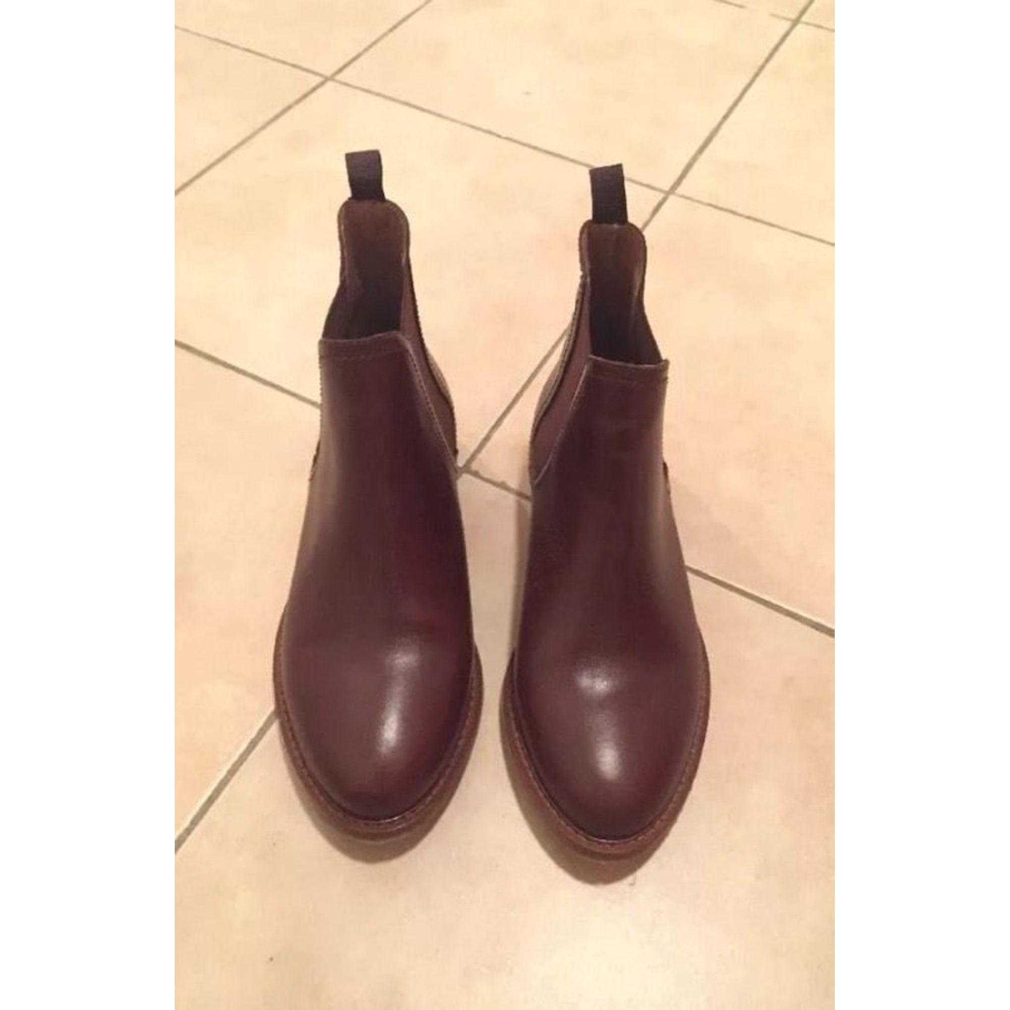 Bottines & low boots plates JONAK 37 marron vendu par