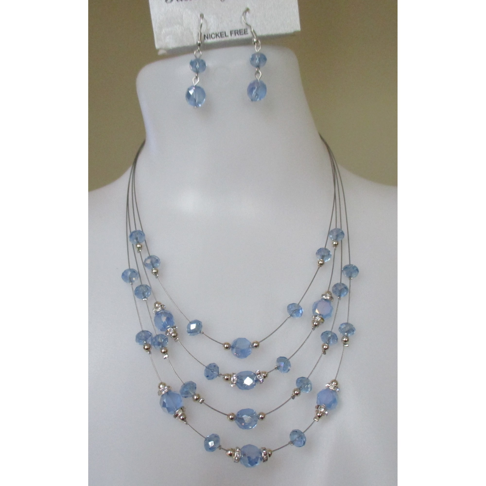 Parure bijoux MUSACRÉATION Bleu, bleu marine, bleu turquoise