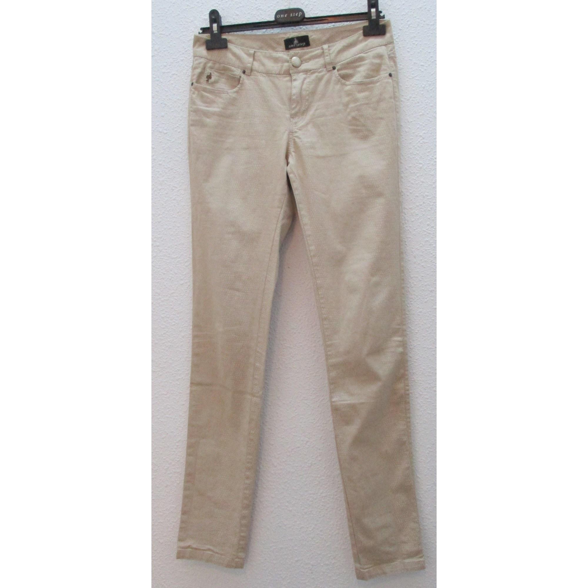 Jeans slim ONE STEP Beige, camel