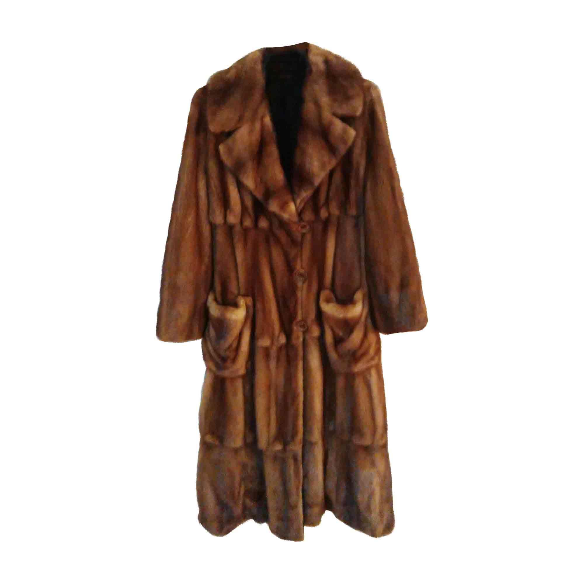 Manteau en fourrure FENDI Doré, bronze, cuivre