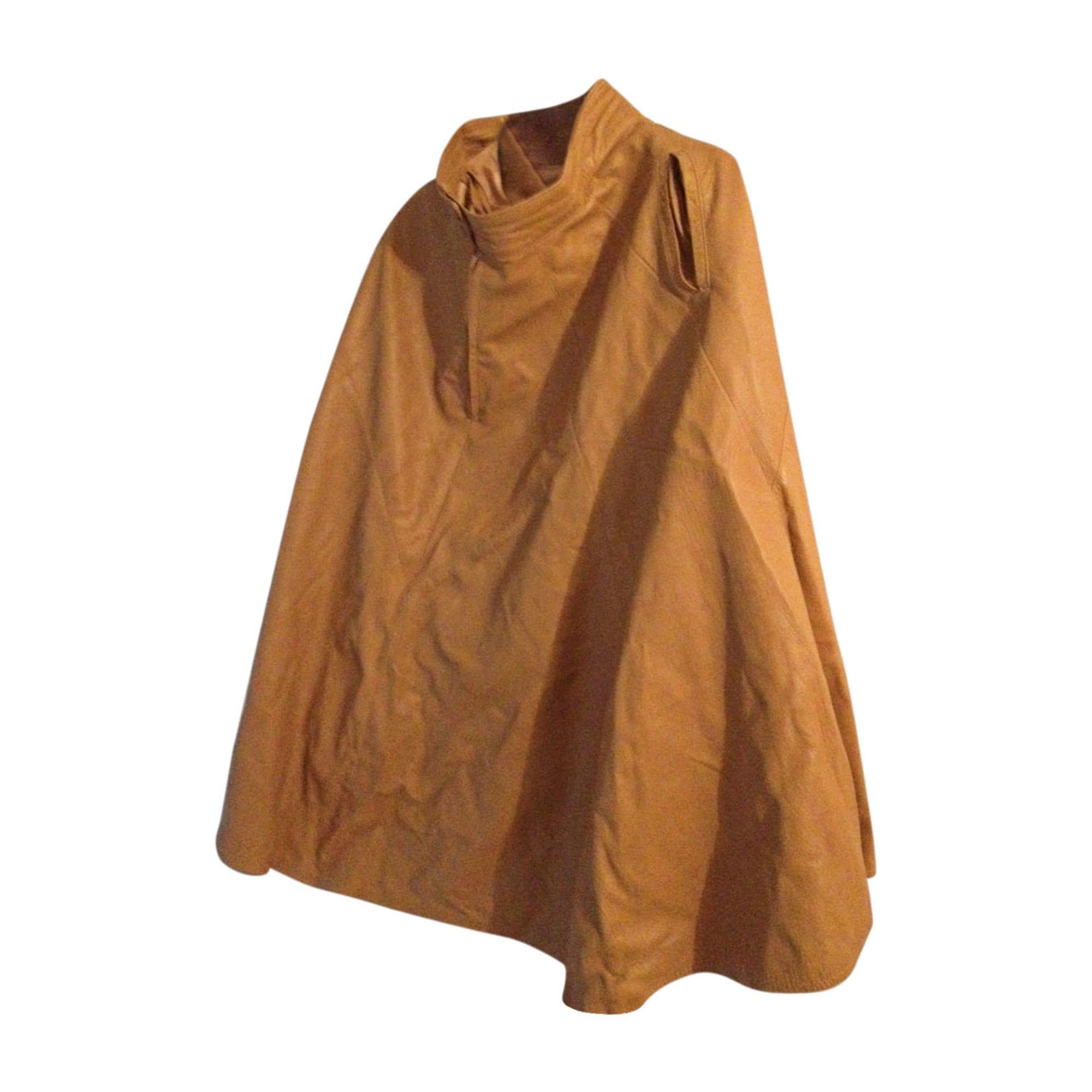 Veste en cuir JITROIS Beige, camel