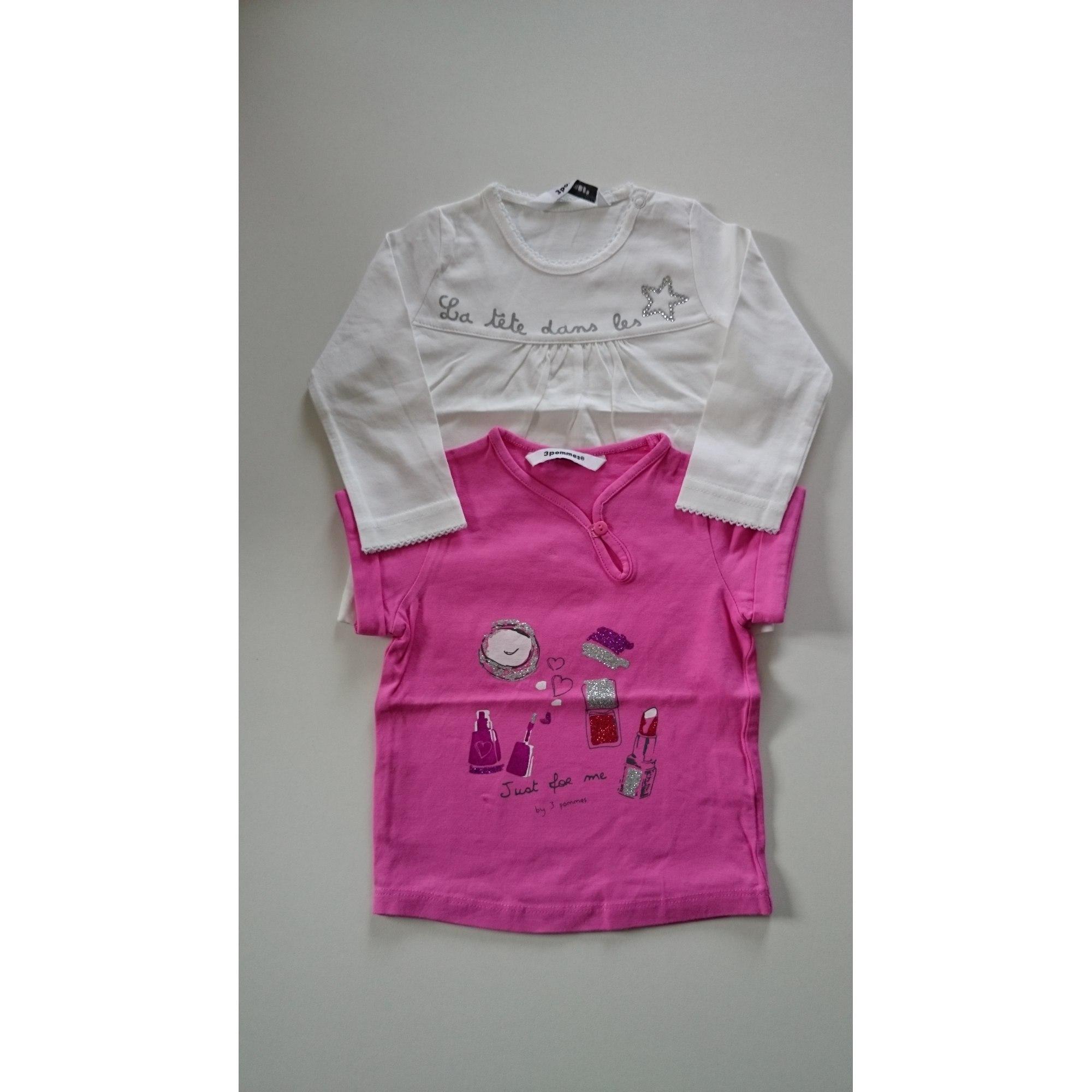 Top, tee shirt 3 POMMES Blanc, blanc cassé, écru