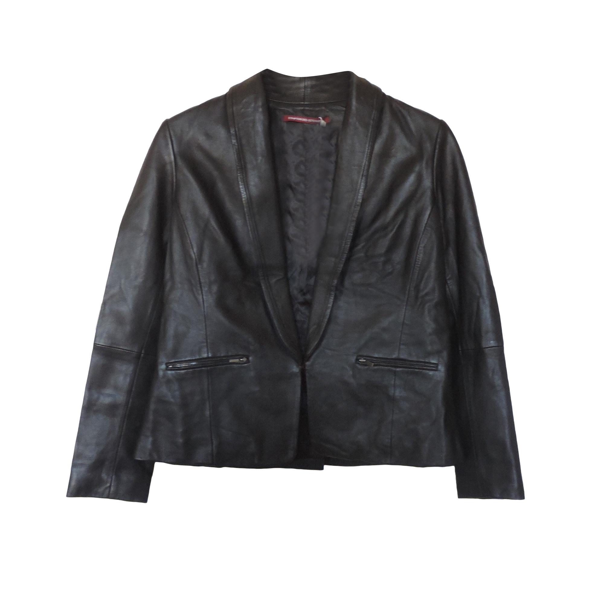 Veste en cuir COMPTOIR DES COTONNIERS Noir