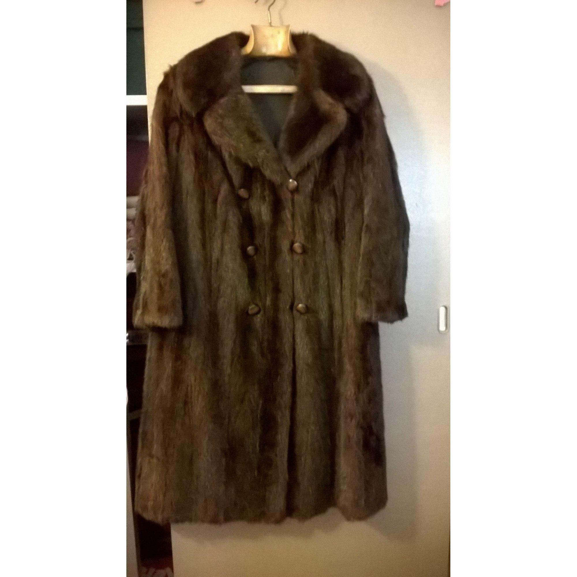 Manteau en fourrure VISON VINTAGE 40 (L, T3) beige vendu par