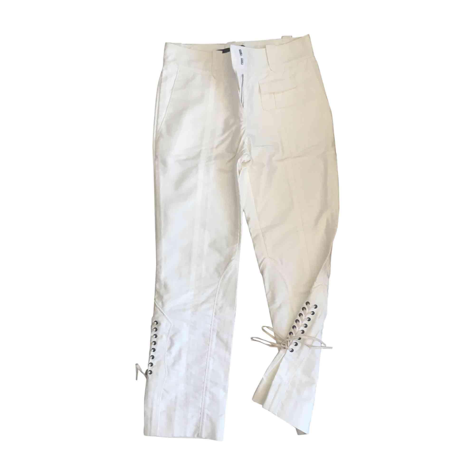 Pantalon droit LOUIS VUITTON Blanc, blanc cassé, écru