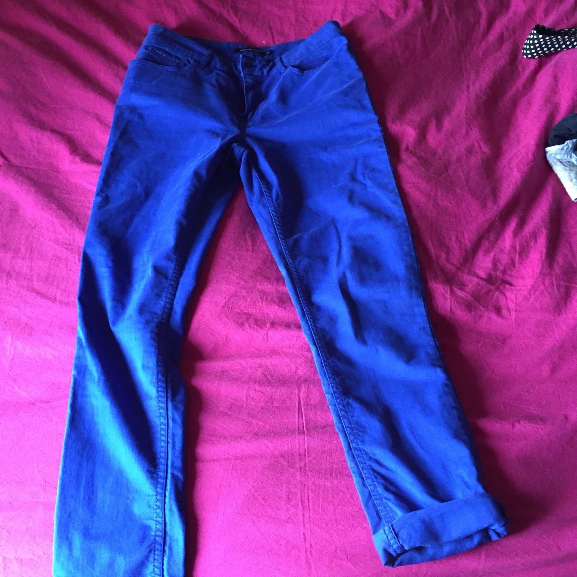 Pantalon slim, cigarette MONOPRIX Bleu, bleu marine, bleu turquoise