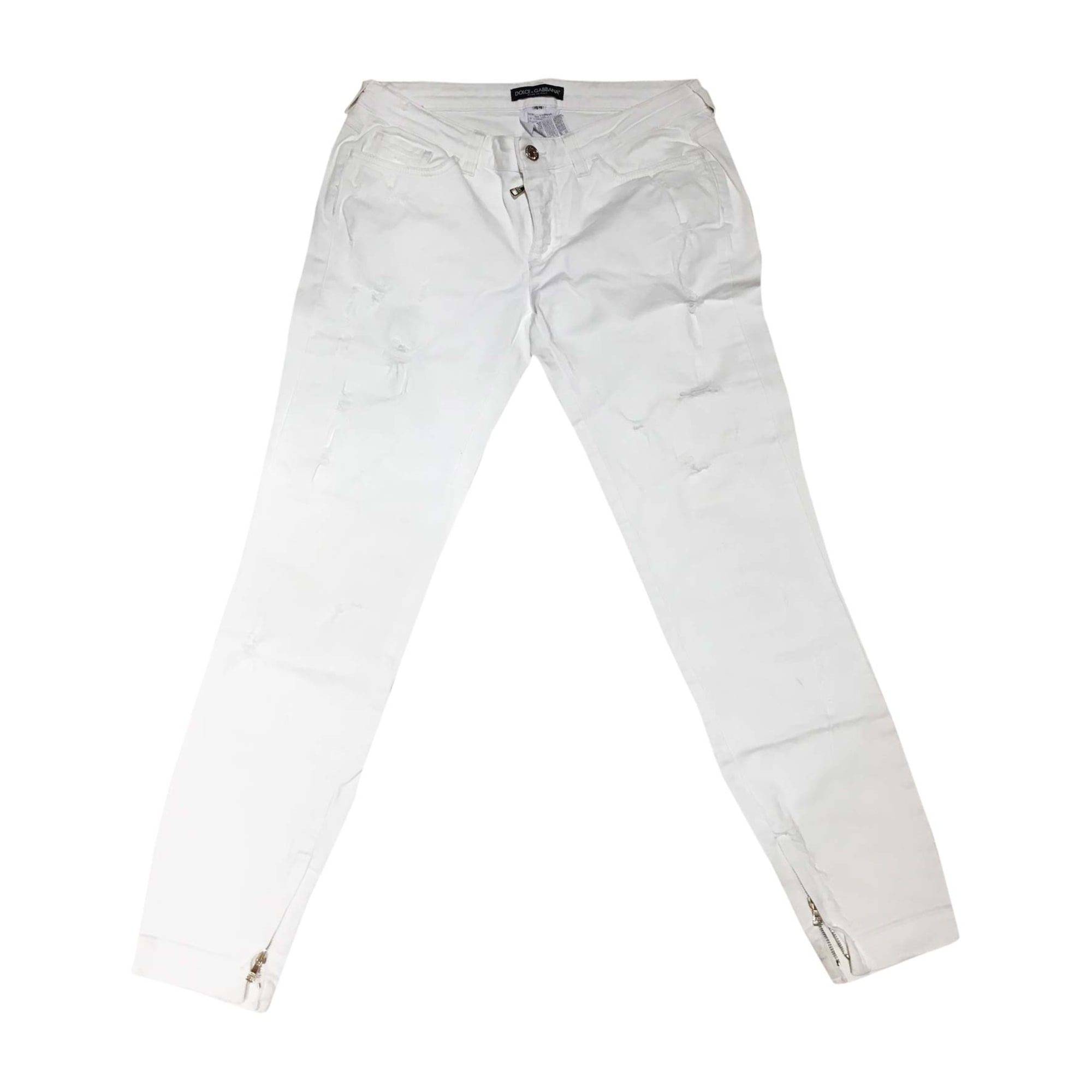 Jeans large, boyfriend DOLCE & GABBANA Blanc, blanc cassé, écru