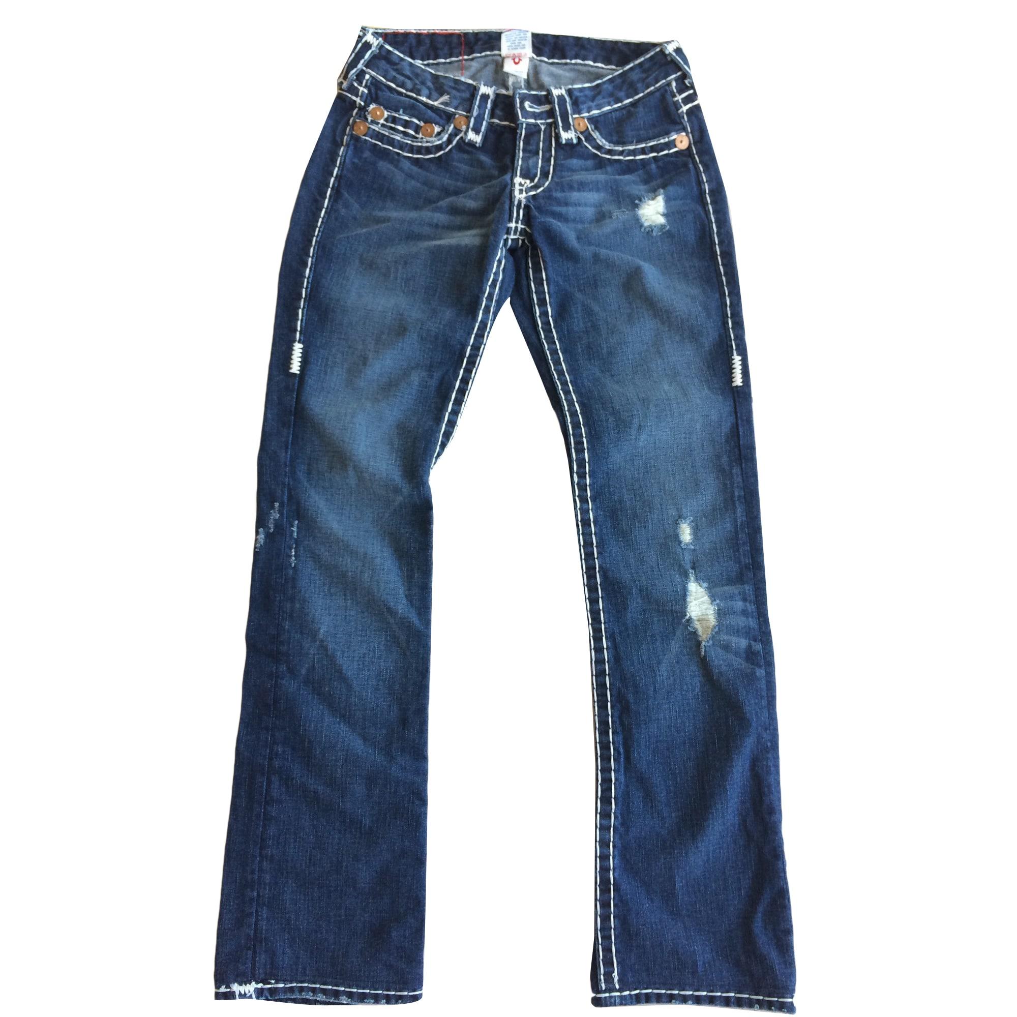 Jeans droit TRUE RELIGION Bleu foncé