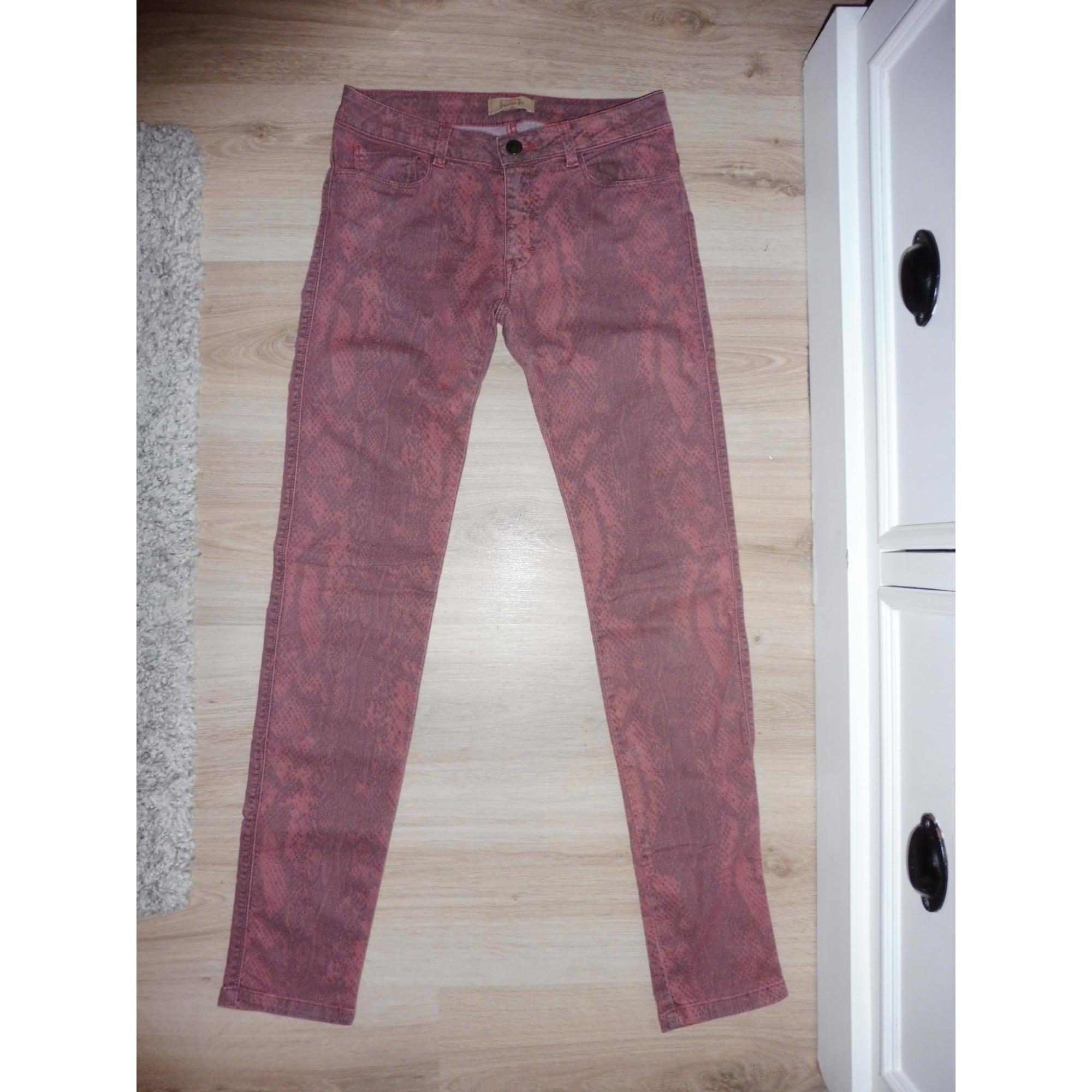 Jeans slim BEL AIR Python rouge clair