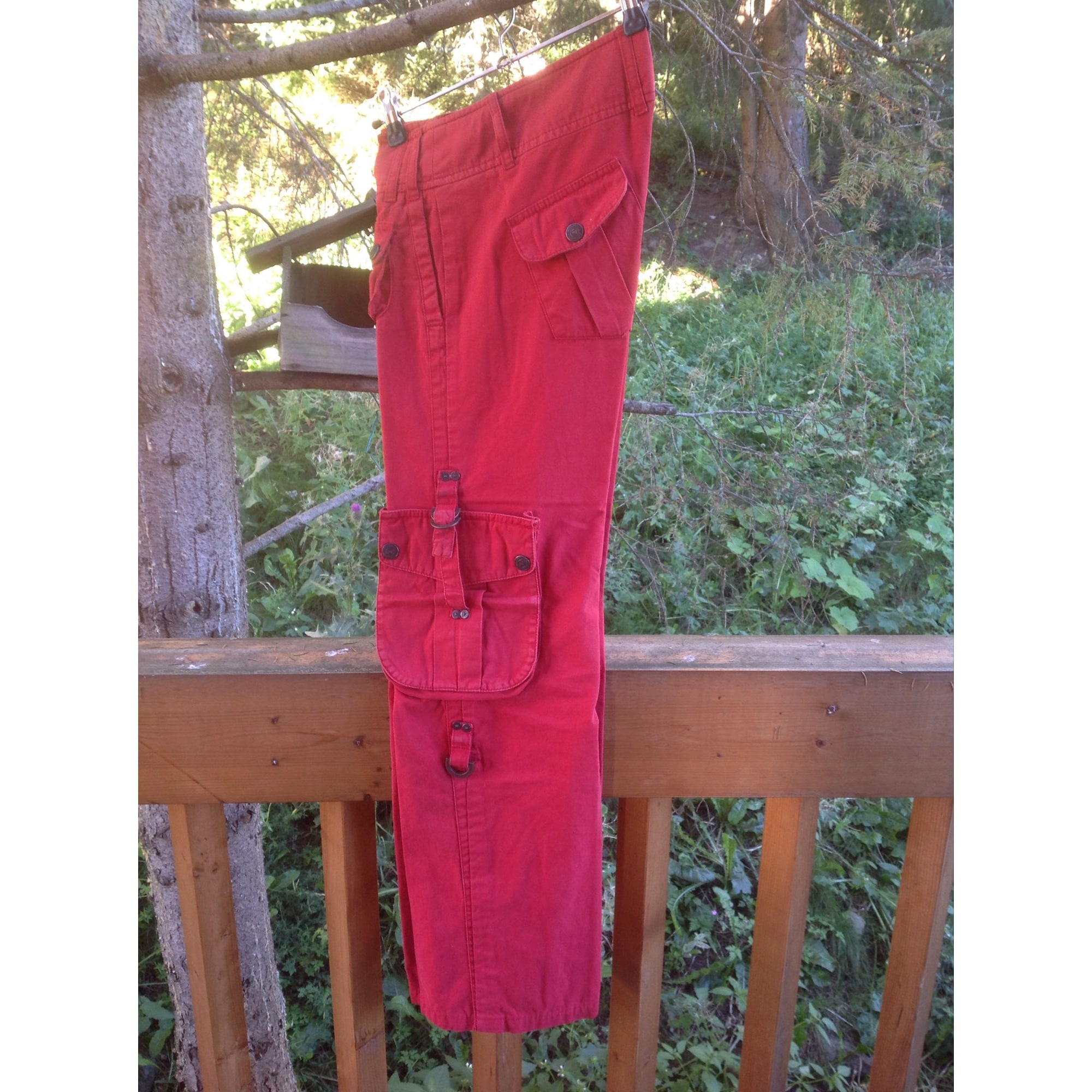 Pantalon droit FREEMAN T PORTER Rouge, bordeaux