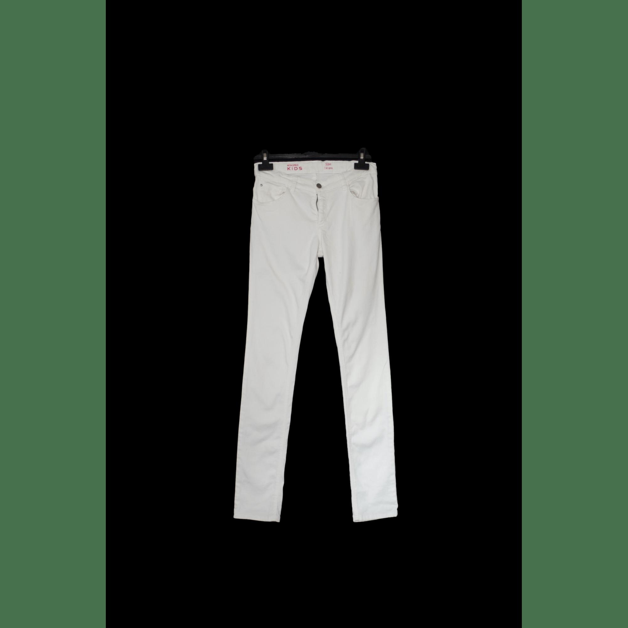 Jean slim  MONOPRIX Blanc, blanc cassé, écru