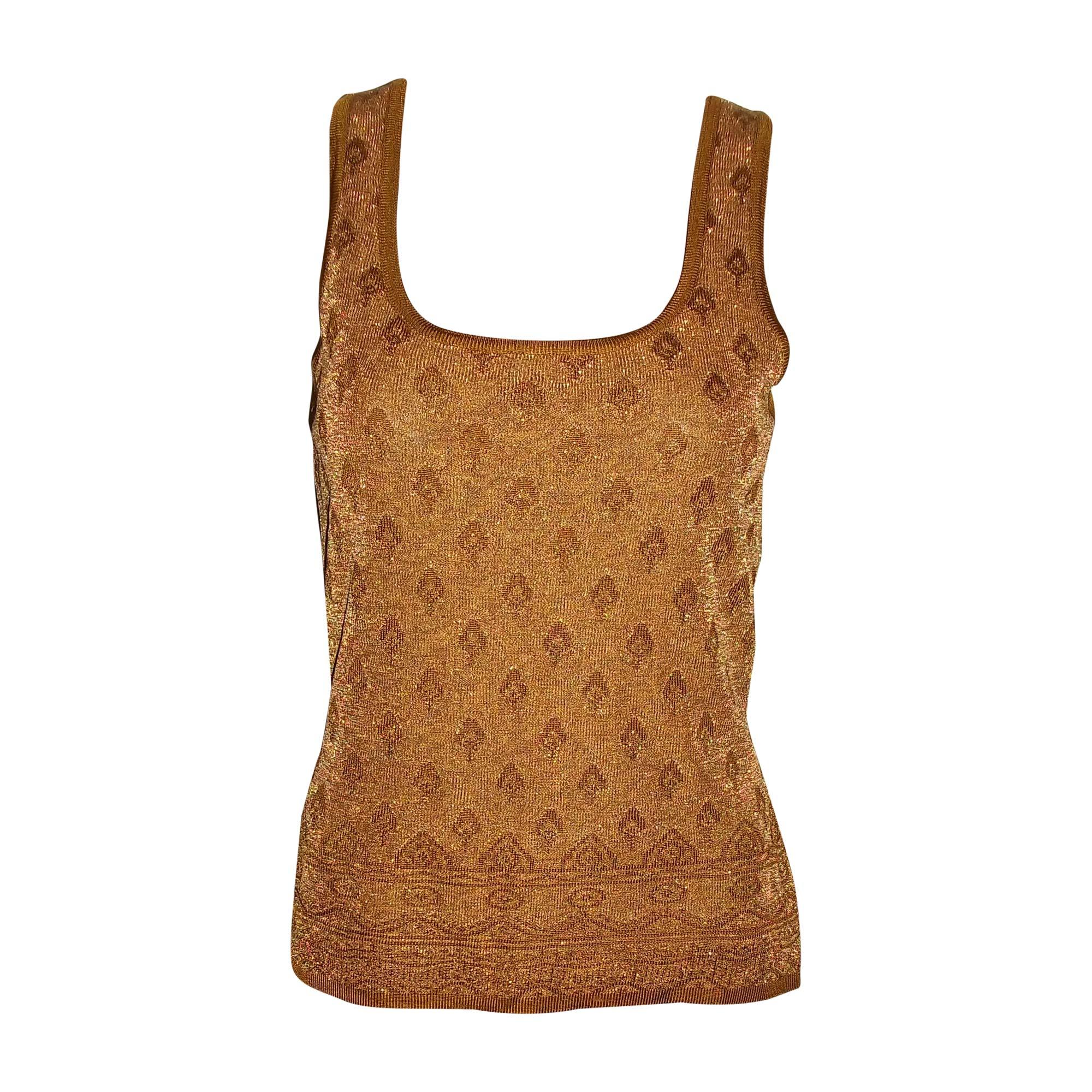 Top, tee-shirt YVES SAINT LAURENT Doré, bronze, cuivre