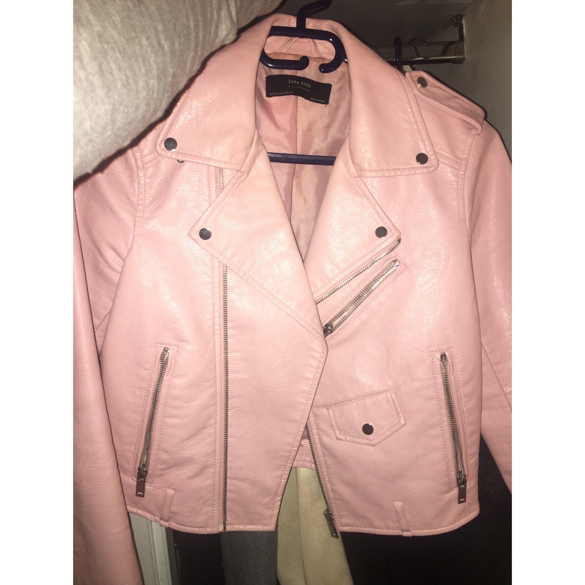 veste en cuir zara femme rose