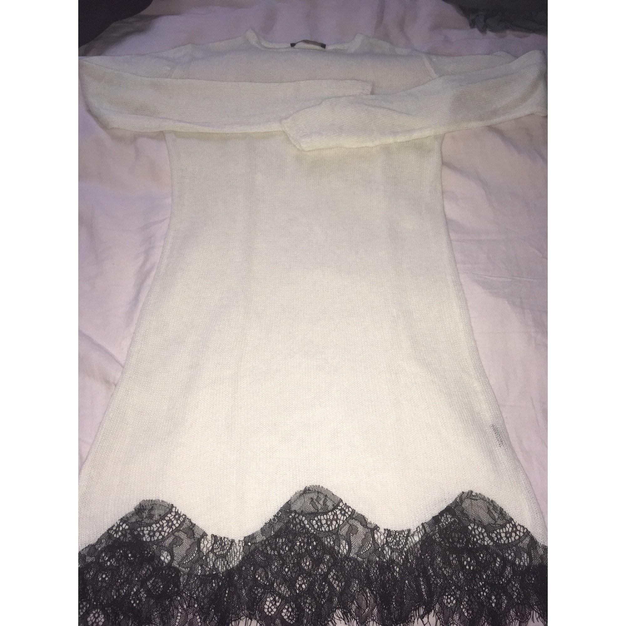 Pull tunique ZARA Blanc, blanc cassé, écru