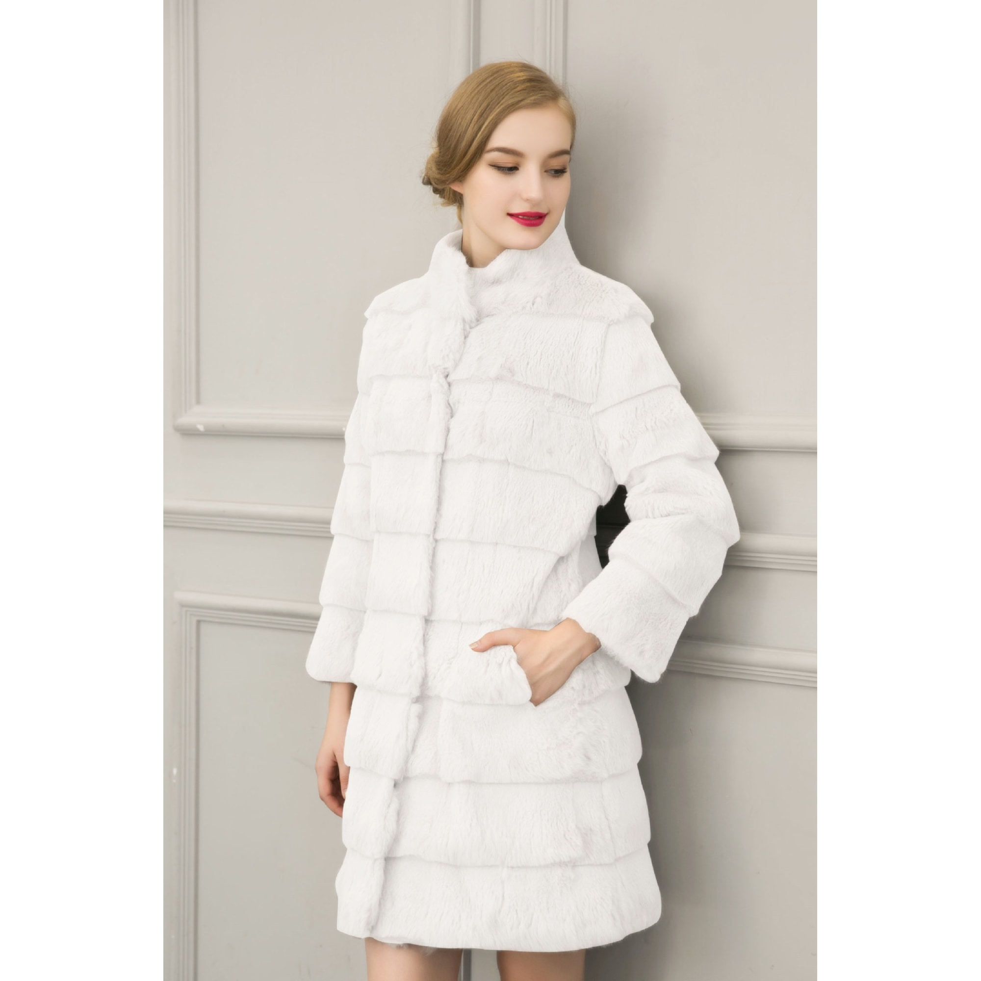 Manteau en fourrure CATCHYMARKET Blanc, blanc cassé, écru