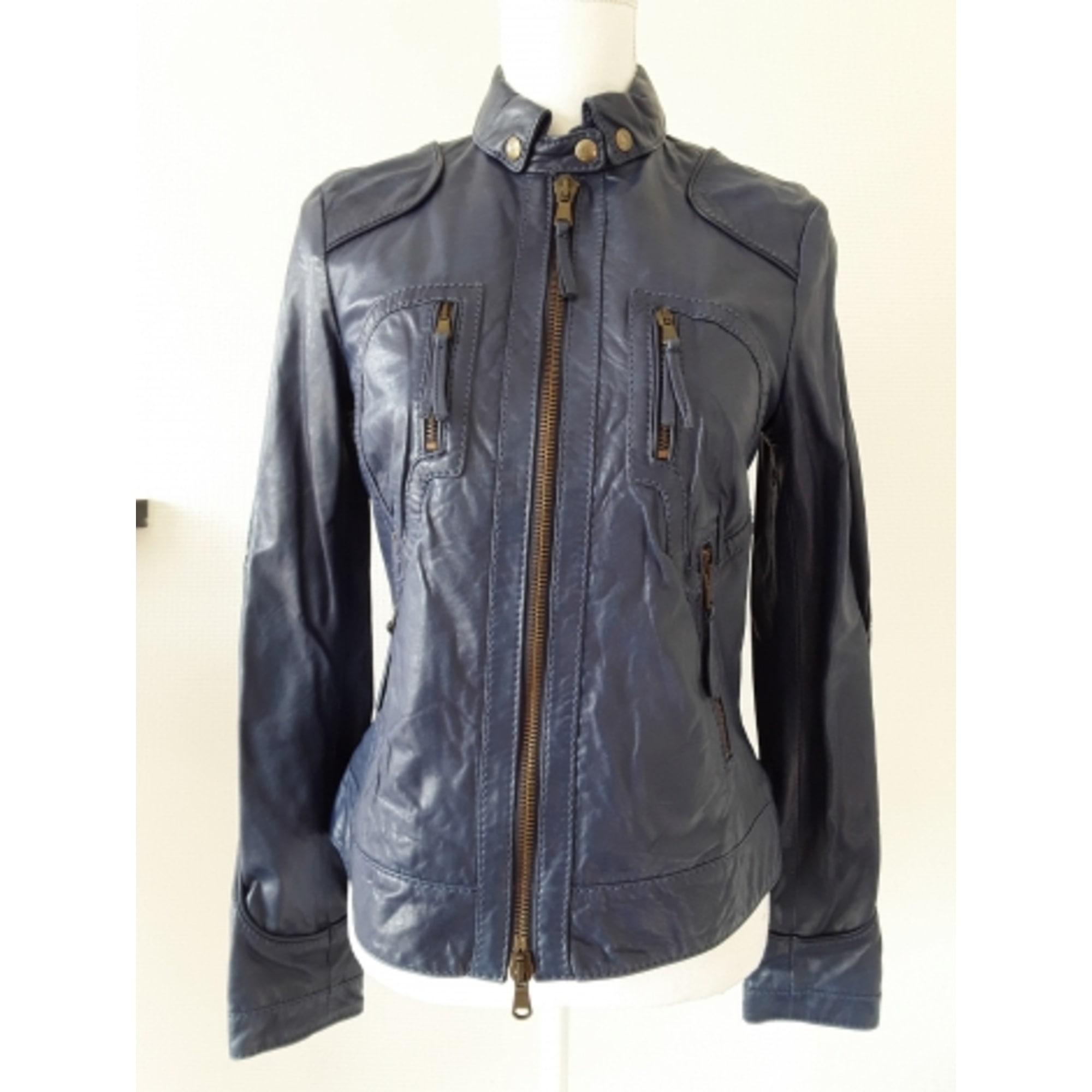 Veste en cuir MARLBORO CLASSICS Bleu, bleu marine, bleu turquoise