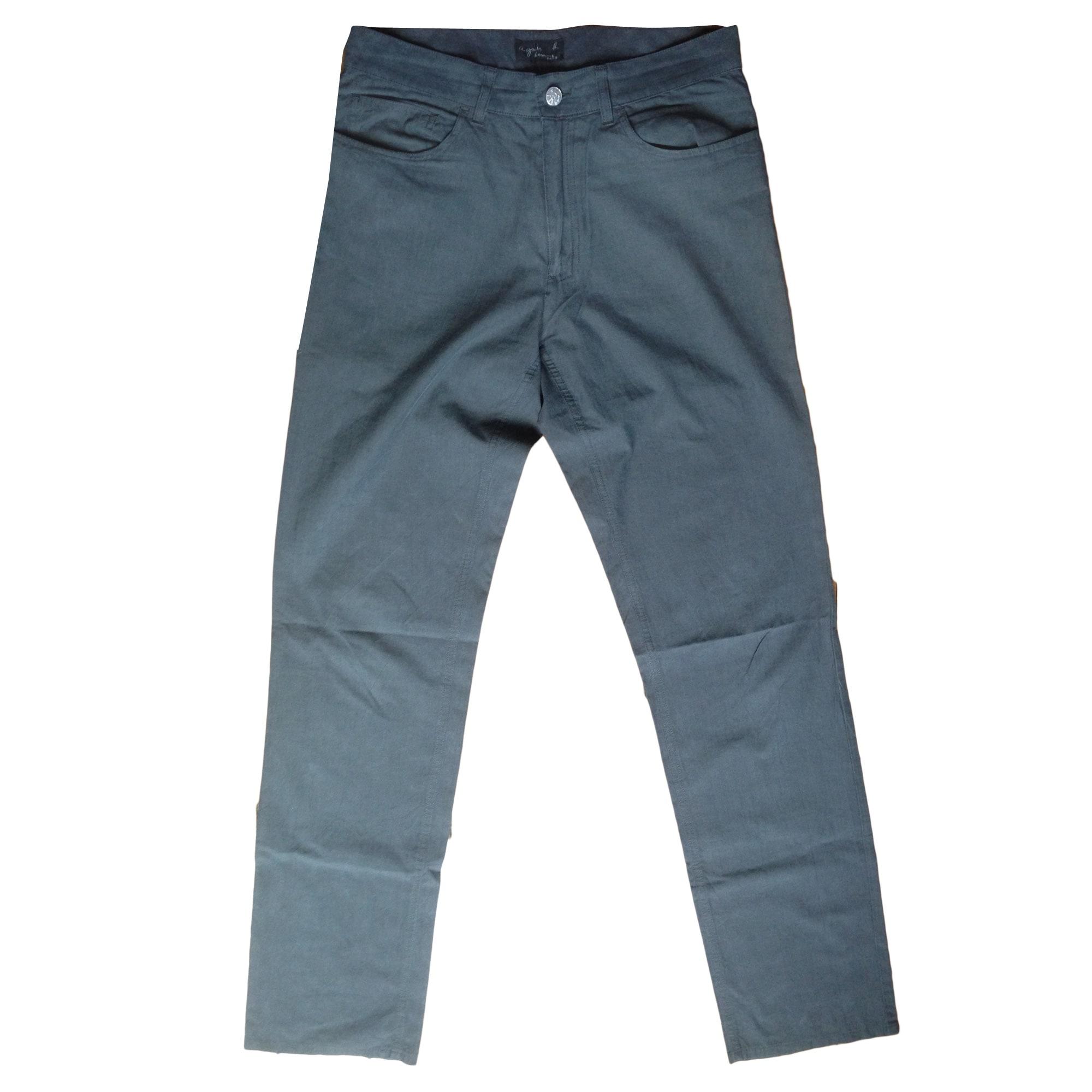 Pantalon slim AGNÈS B. Gris, anthracite