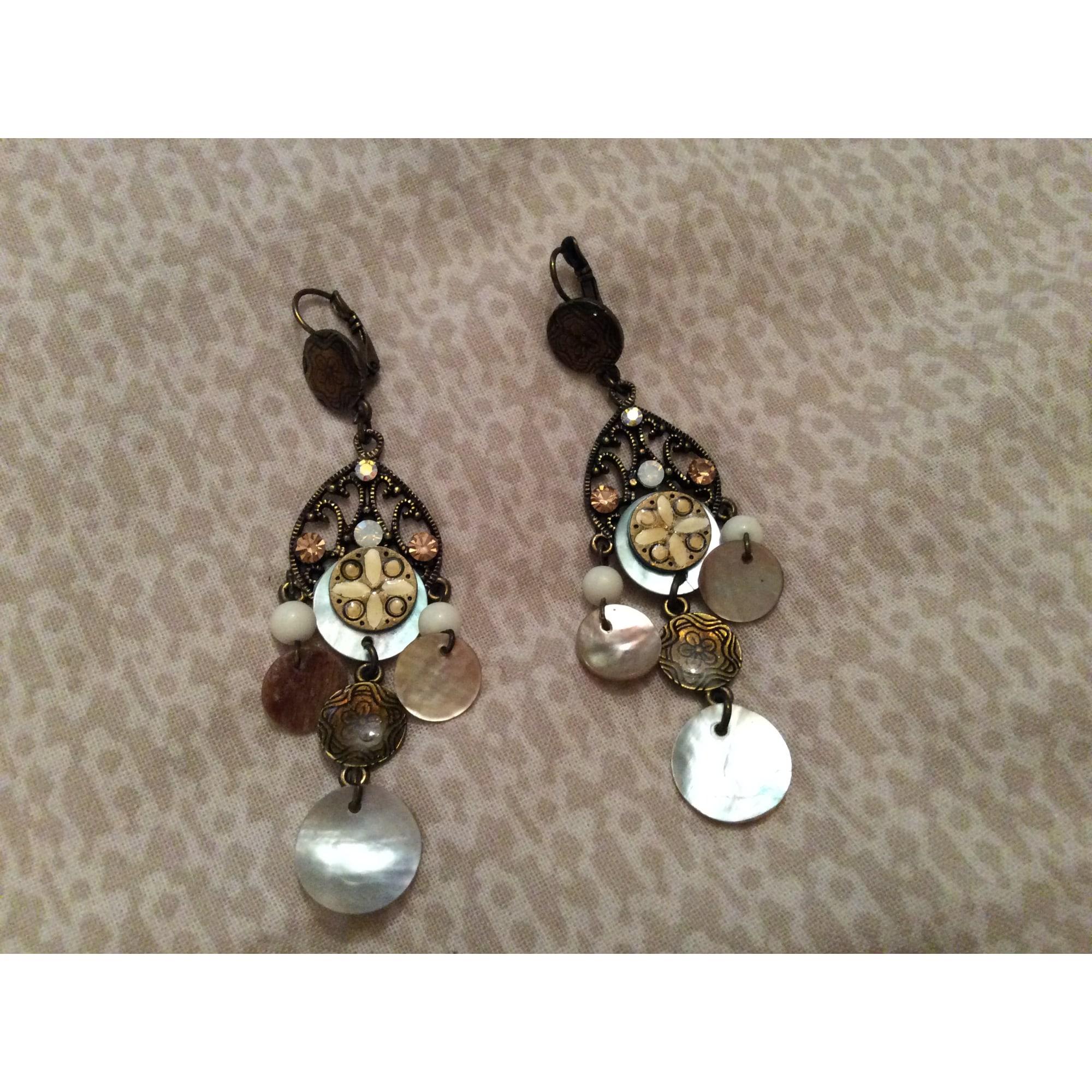 Boucles d'oreille CAMAIEU Doré, bronze, cuivre