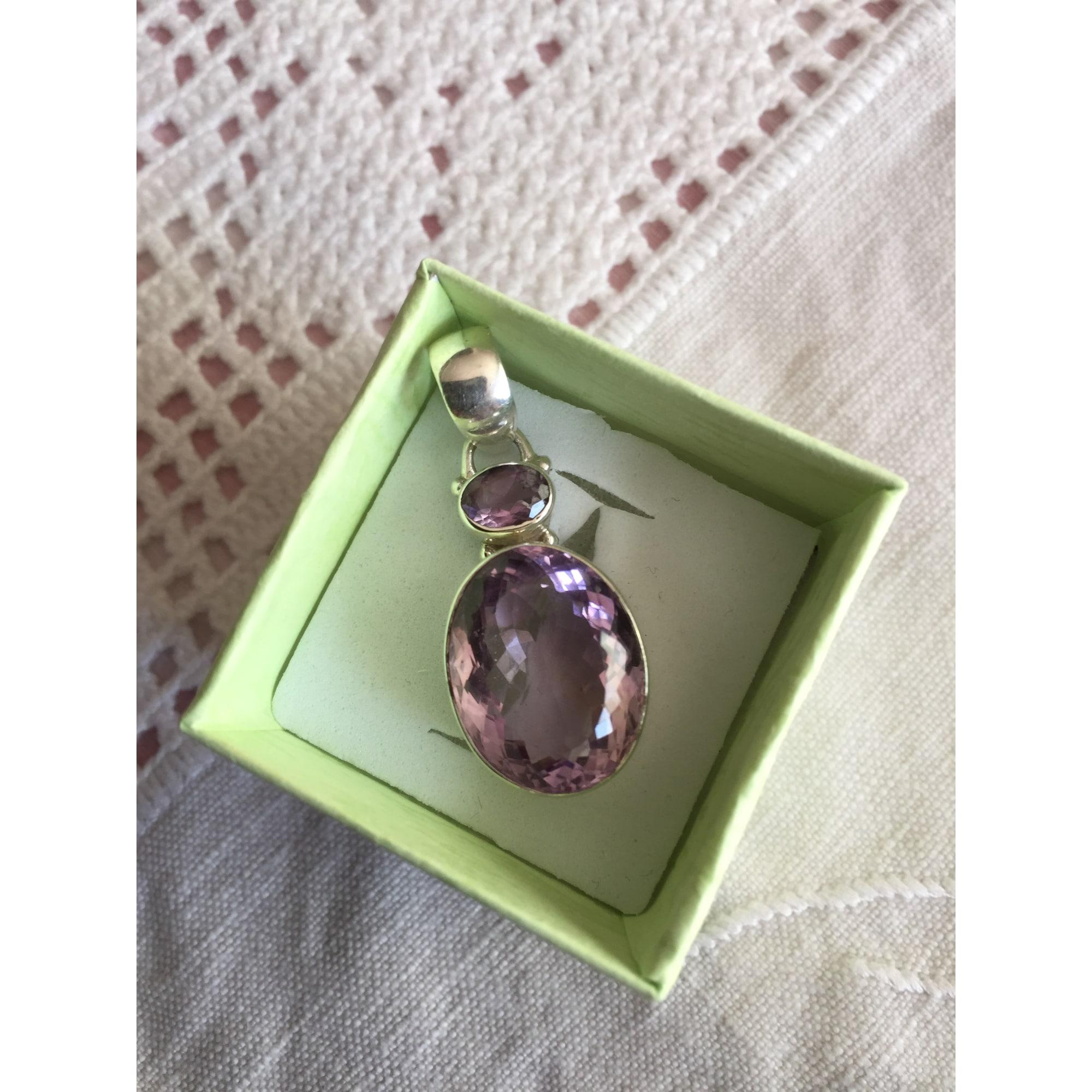 Pendentif, collier pendentif BEAU SANS LOGO argent violet