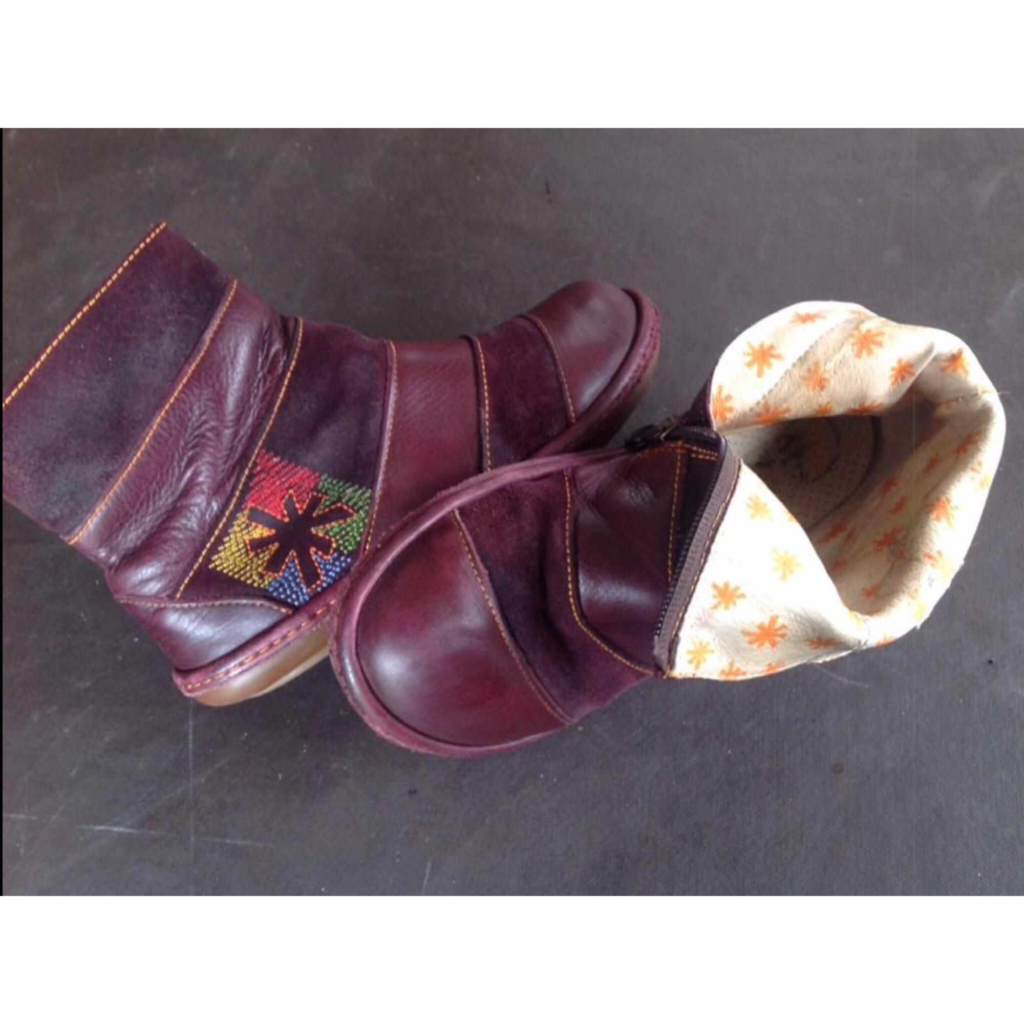 Bottines & low boots plates ART Marron bordeaux