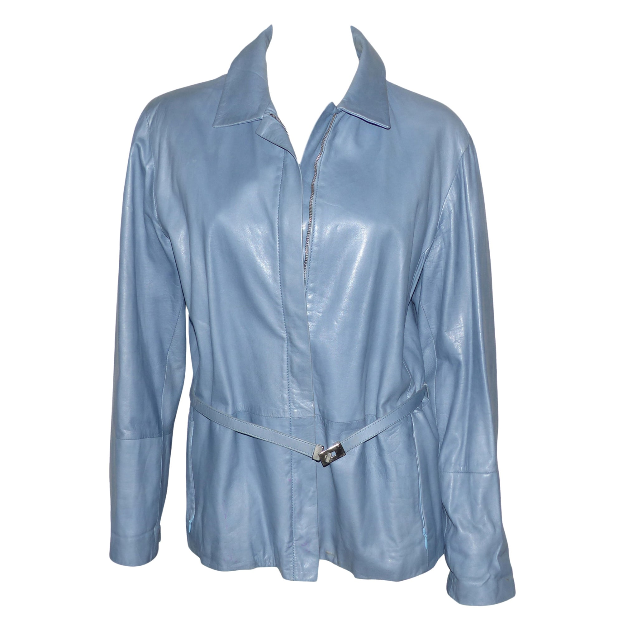 Veste en cuir MAX MARA Bleu, bleu marine, bleu turquoise