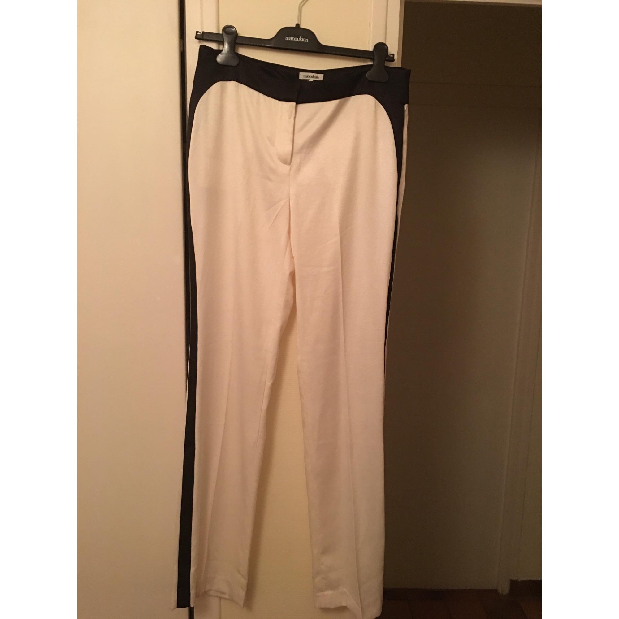 Pantalon droit ALAIN MANOUKIAN Blanc, blanc cassé, écru