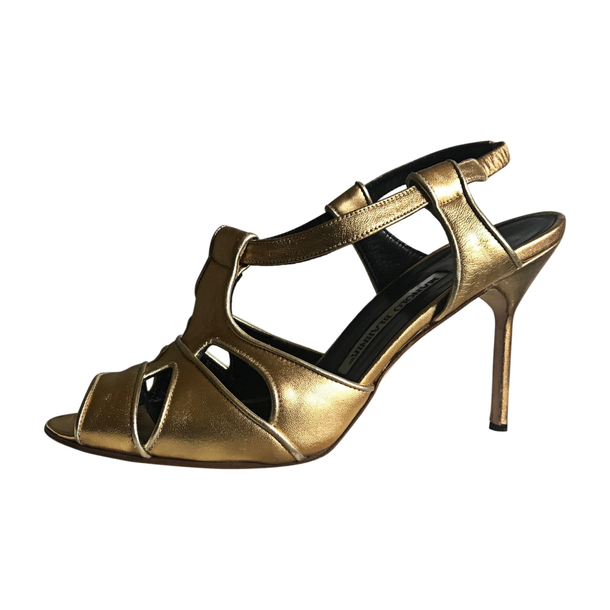 Sandales à talons MANOLO BLAHNIK Doré, bronze, cuivre