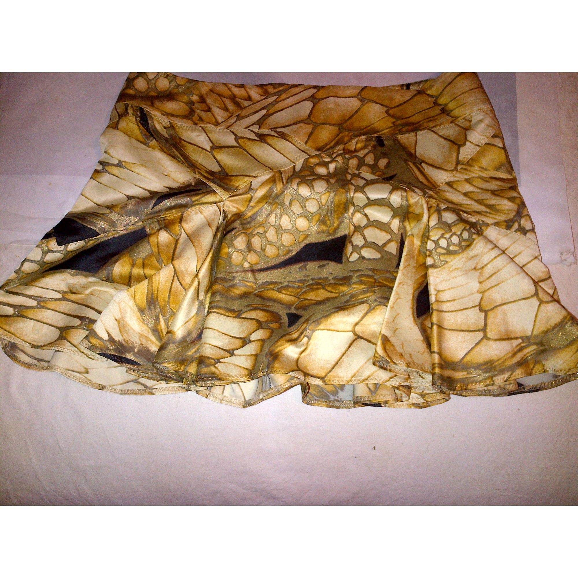 Jupe courte JUST CAVALLI Doré, bronze, cuivre