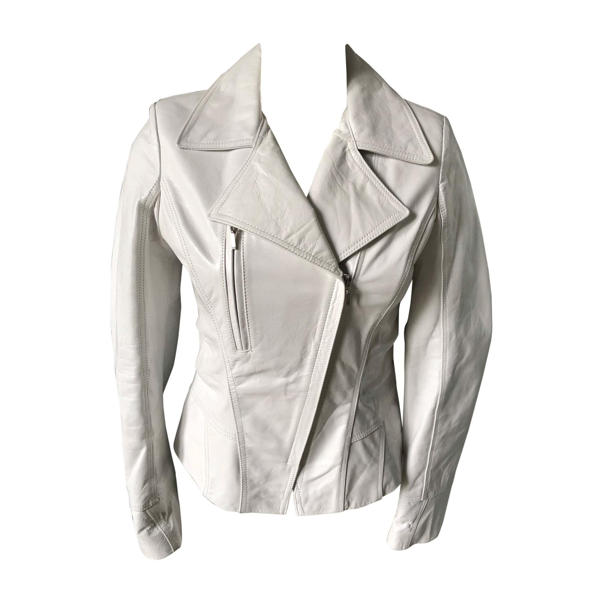 Veste en cuir INTUITION Blanc, blanc cassé, écru