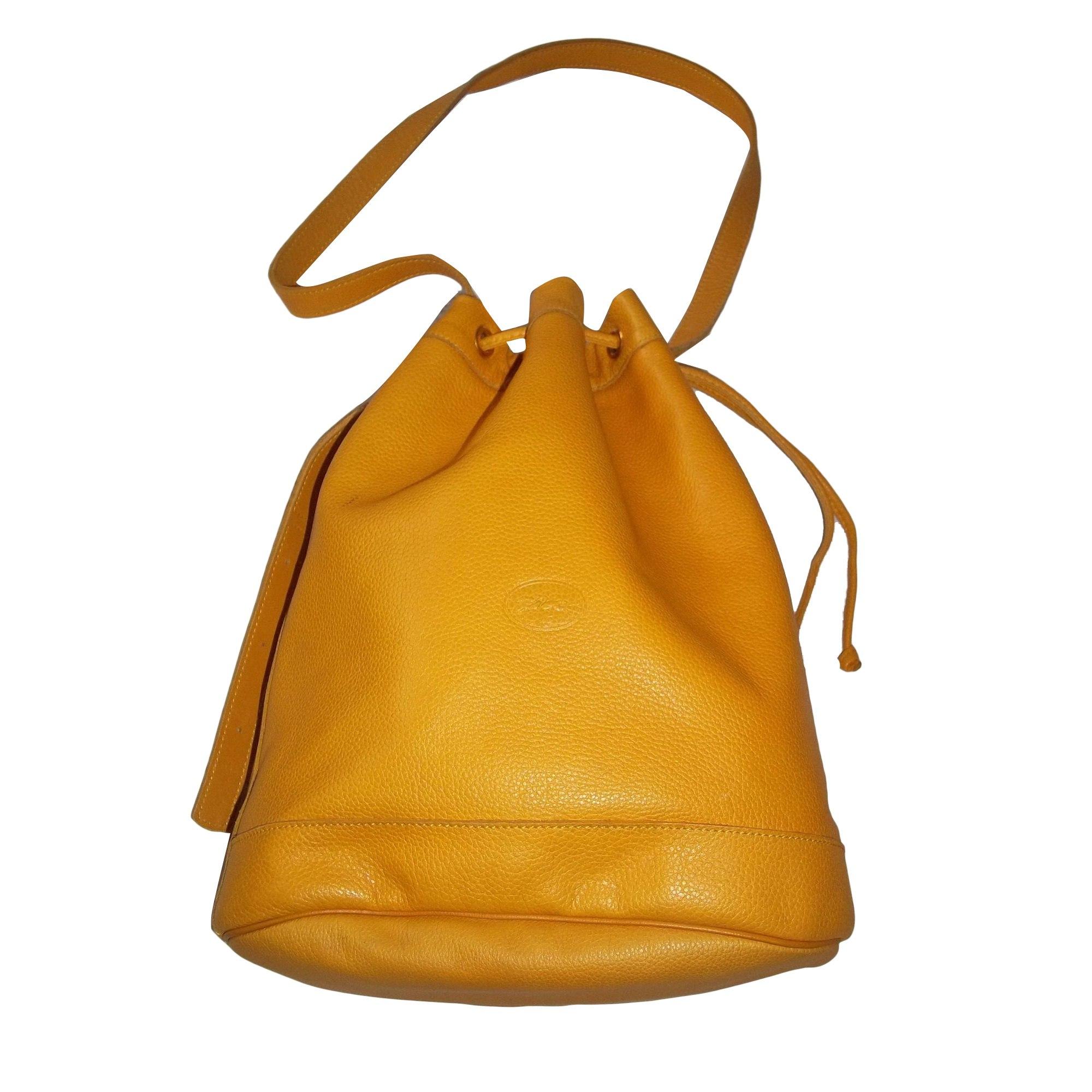 sac longchamp jaune cuir grainé
