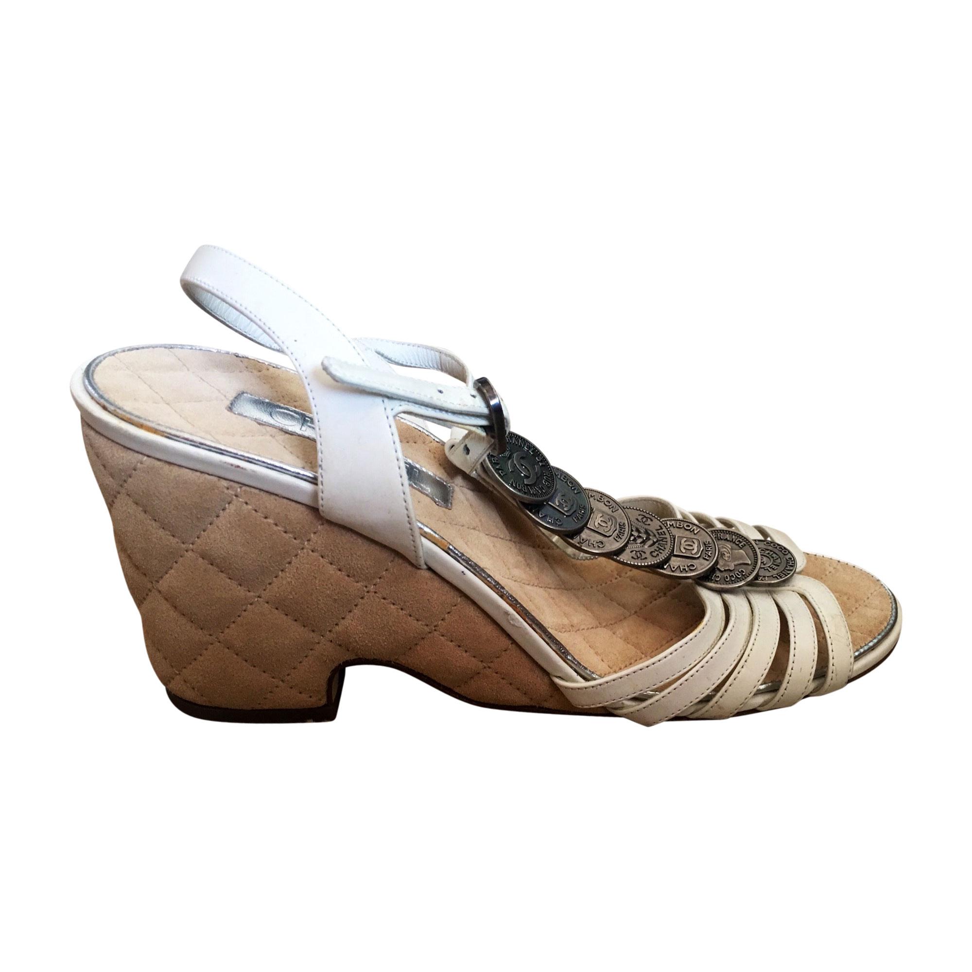 Sandales à talons CHANEL Blanc, blanc cassé, écru