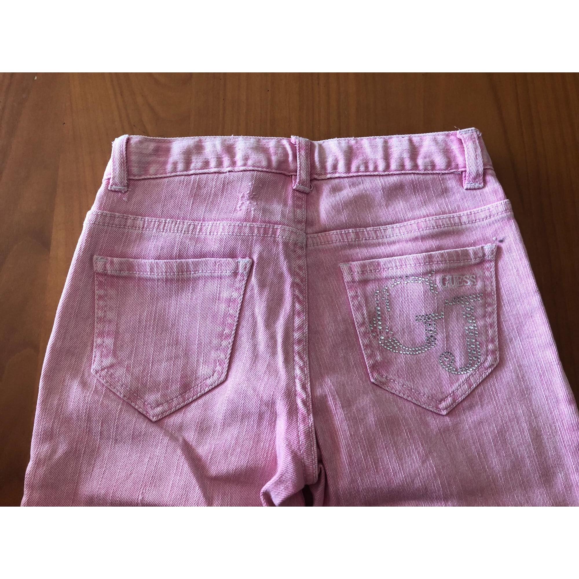 Jeans droit GUESS Rose, fuschia, vieux rose