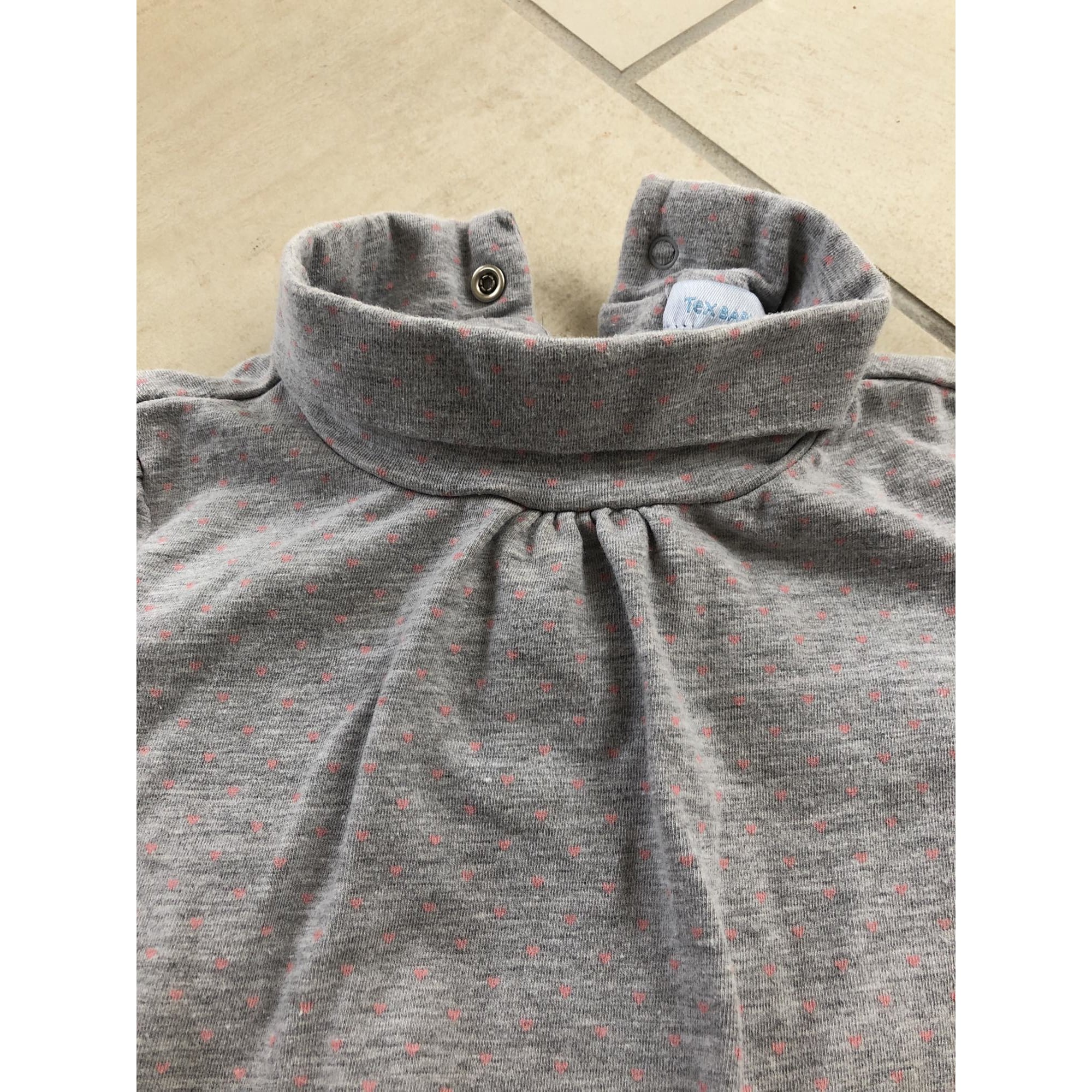 Top, tee shirt TEX BABY Gris, anthracite