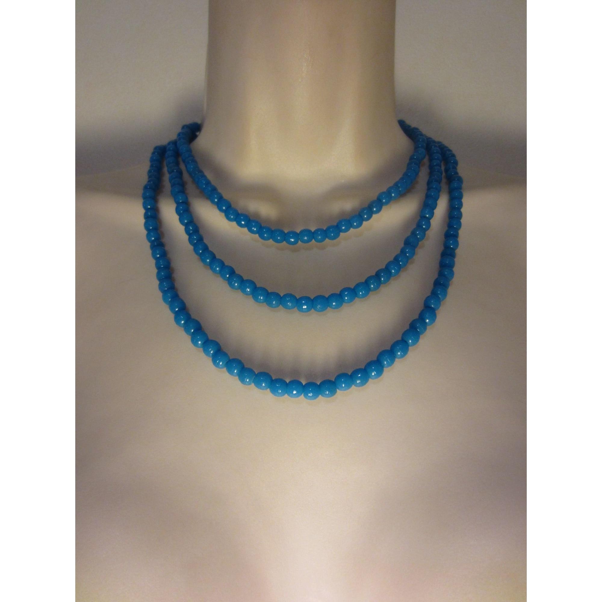 Collier LE SERPENT ROUGE verre bleu