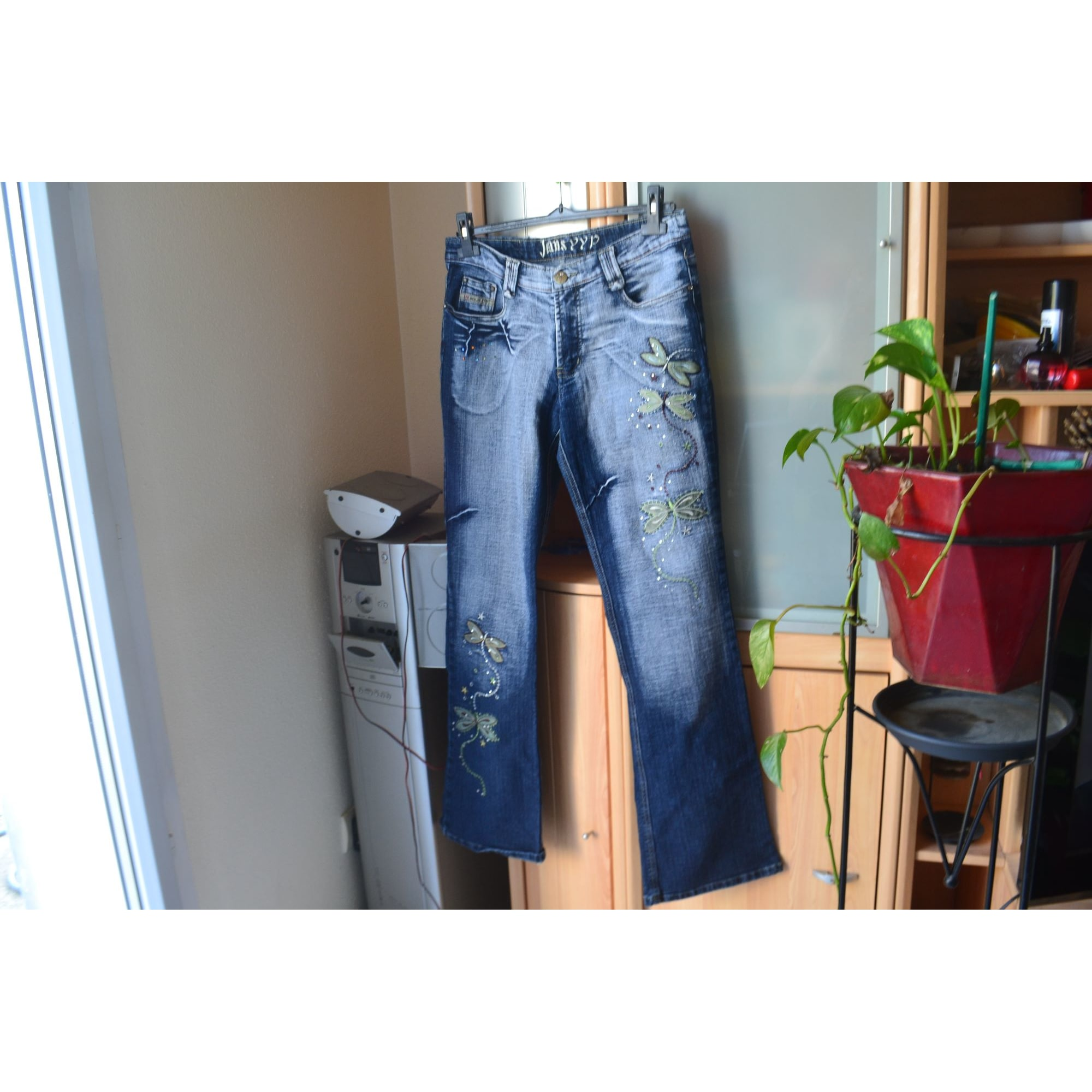 Jeans évasé, boot-cut YYP Doré, bronze, cuivre