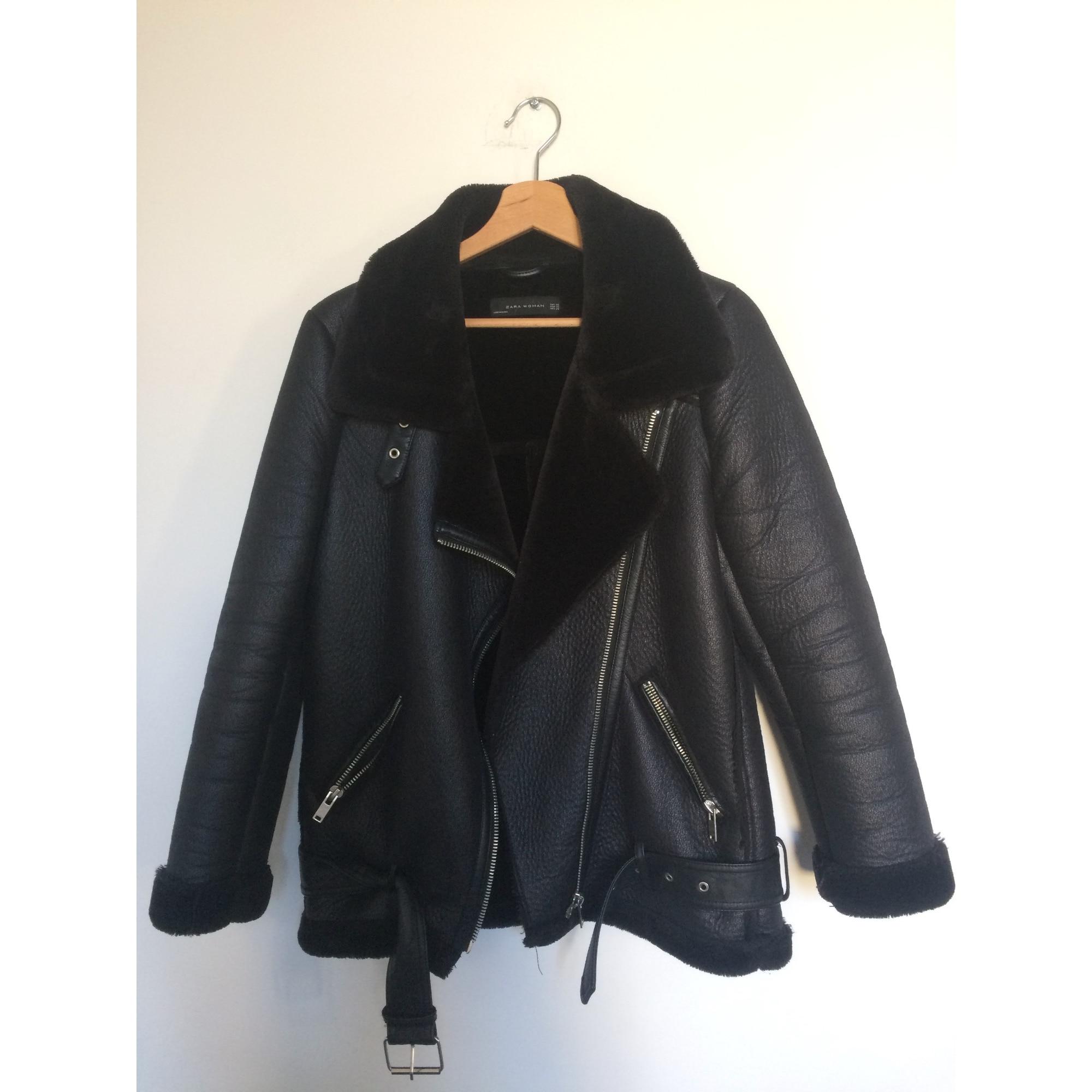 manteau cuir noire xs femme