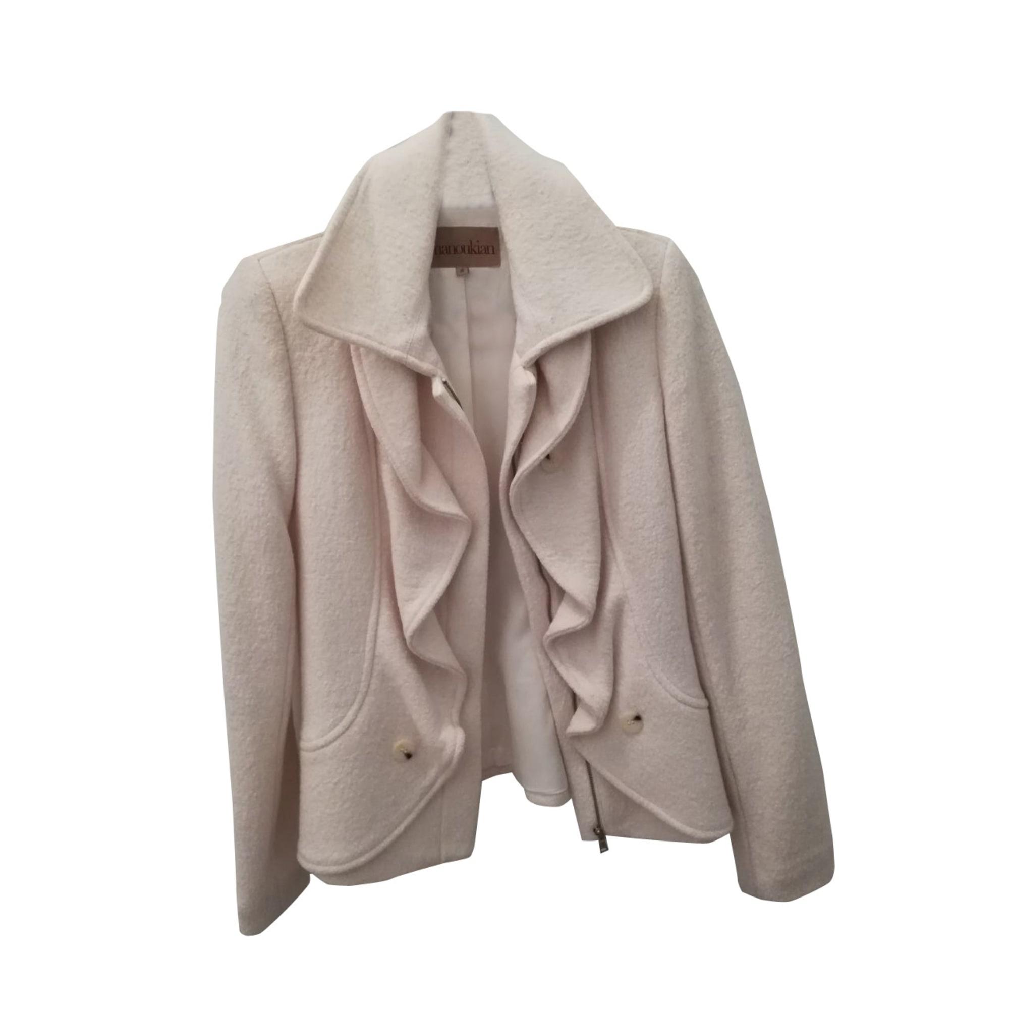 Manteau ALAIN MANOUKIAN 36 (S, T1) blanc 8190619