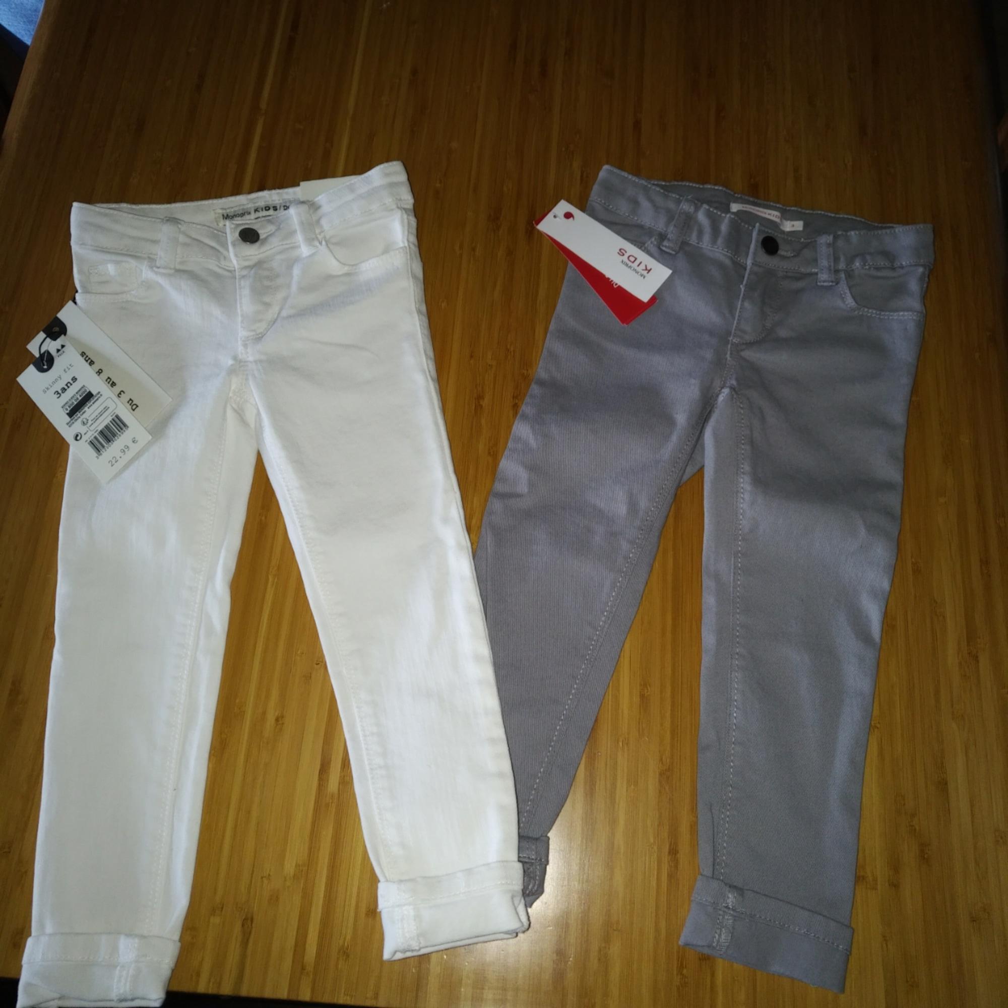 Jeans droit MONOPRIX Blanc, blanc cassé, écru