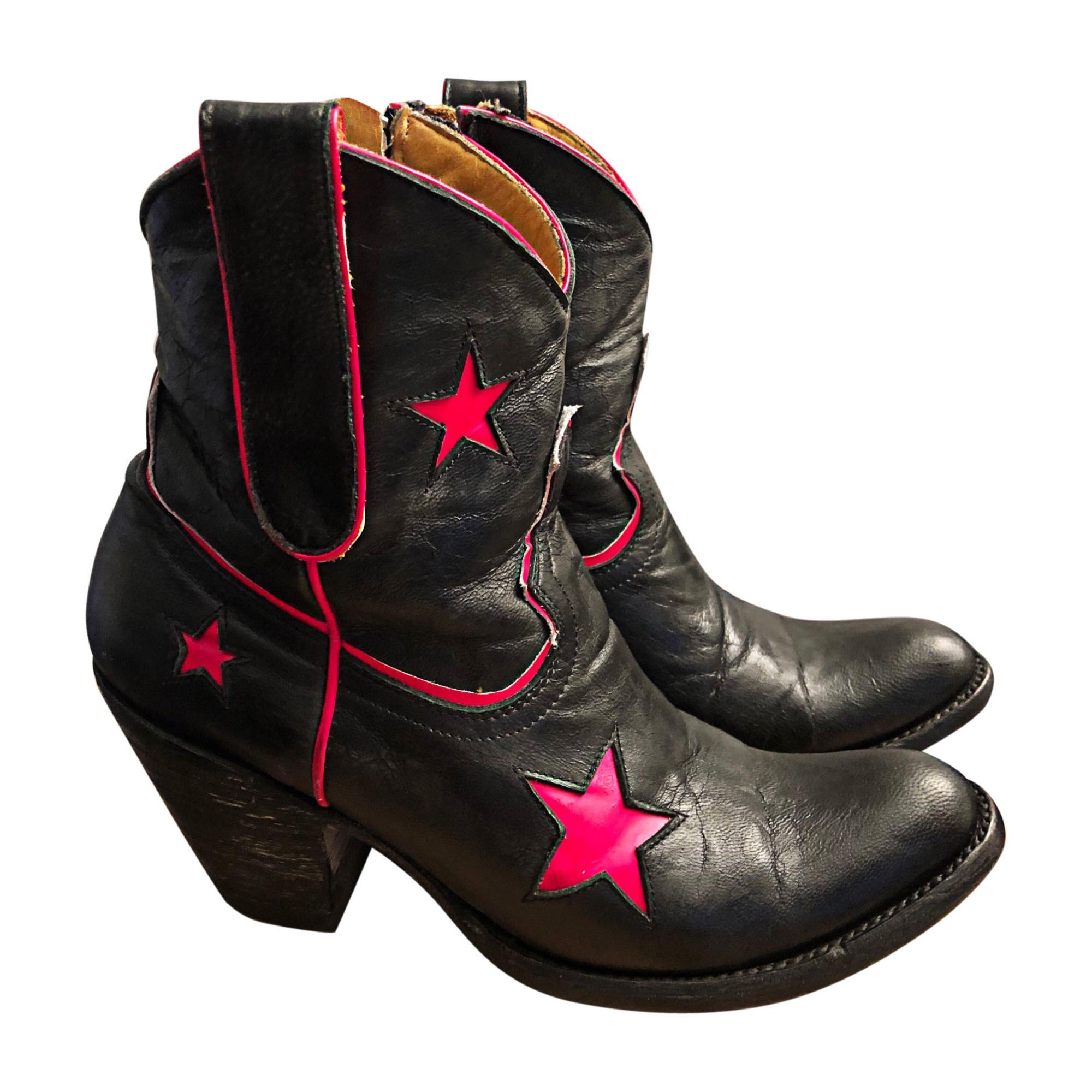 Santiags, bottines, low boots cowboy MEXICANA Noir