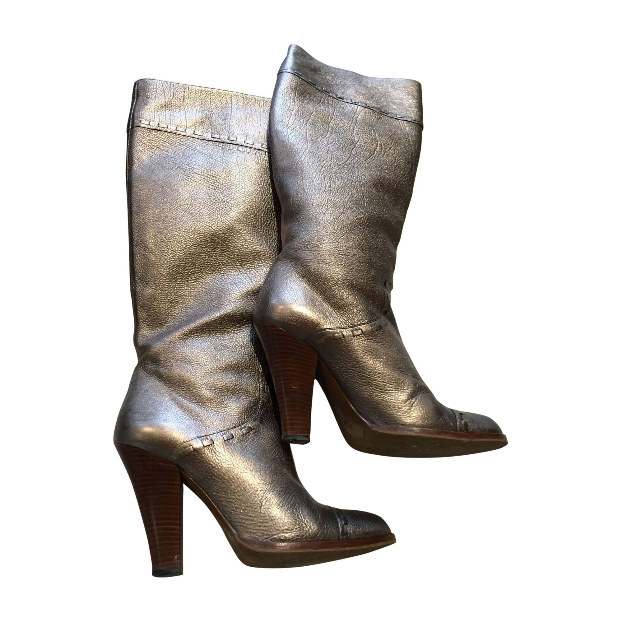 Bottes à talons MARC JACOBS Doré, bronze, cuivre