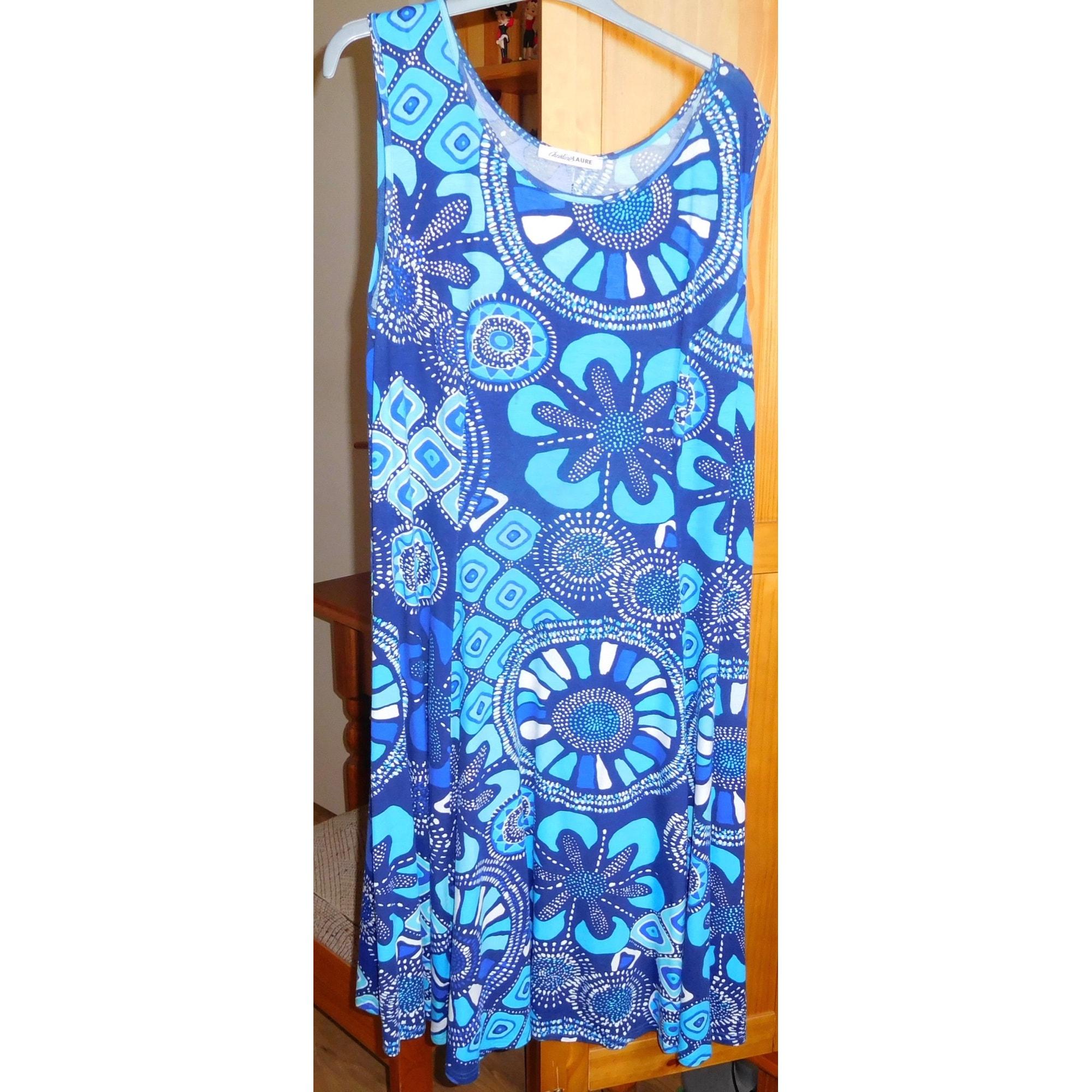 Robe mi-longue CHRISTINE LAURE Bleu, bleu marine, bleu turquoise