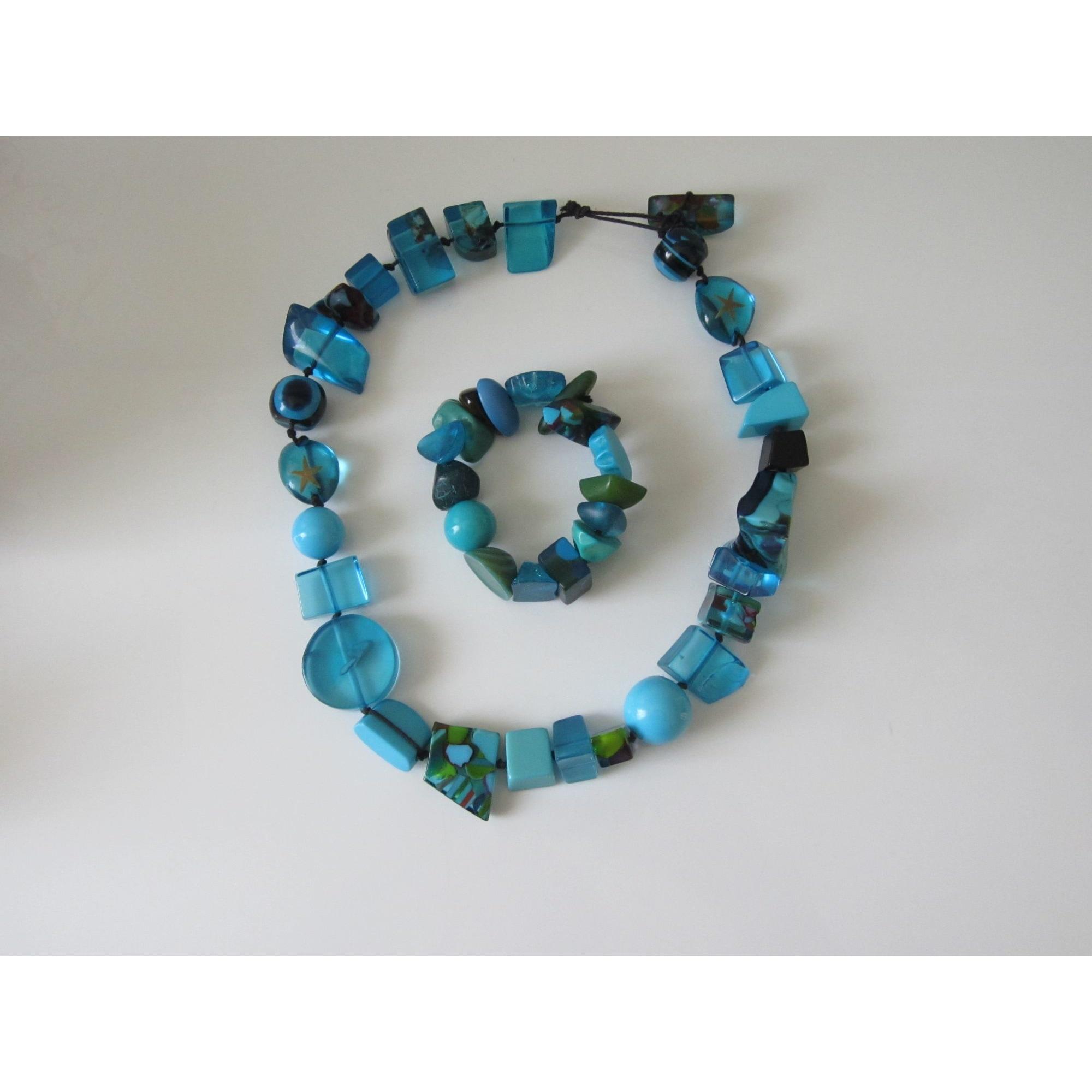 Collier SOBRAL résine bleu