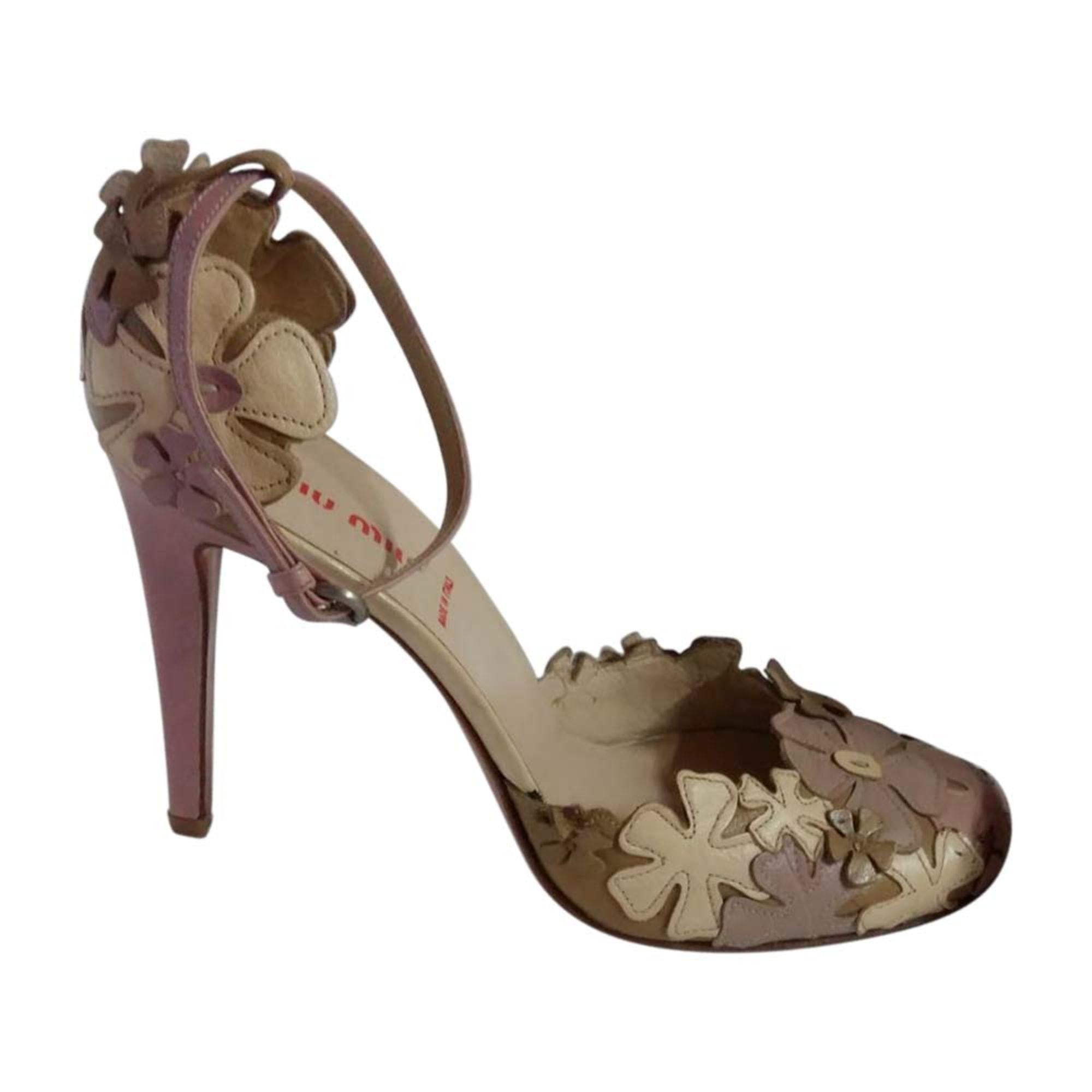 Sandales à talons MIU MIU Embellished Blanc, blanc cassé, écru